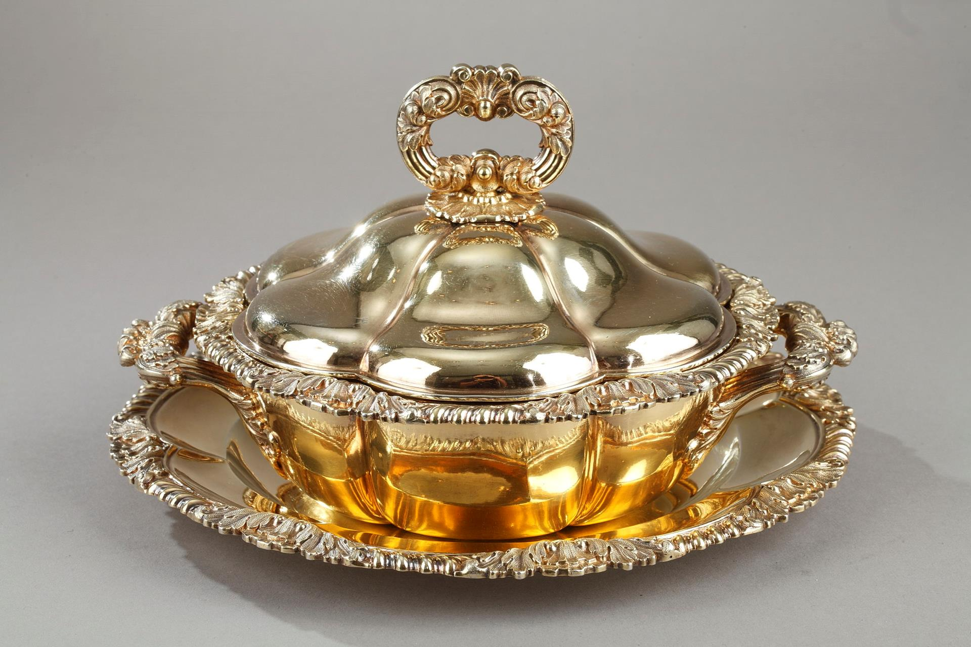 VERMEIL OILLE TUREEN BY C-N ODIOT . Mid-19TH CENTURY.