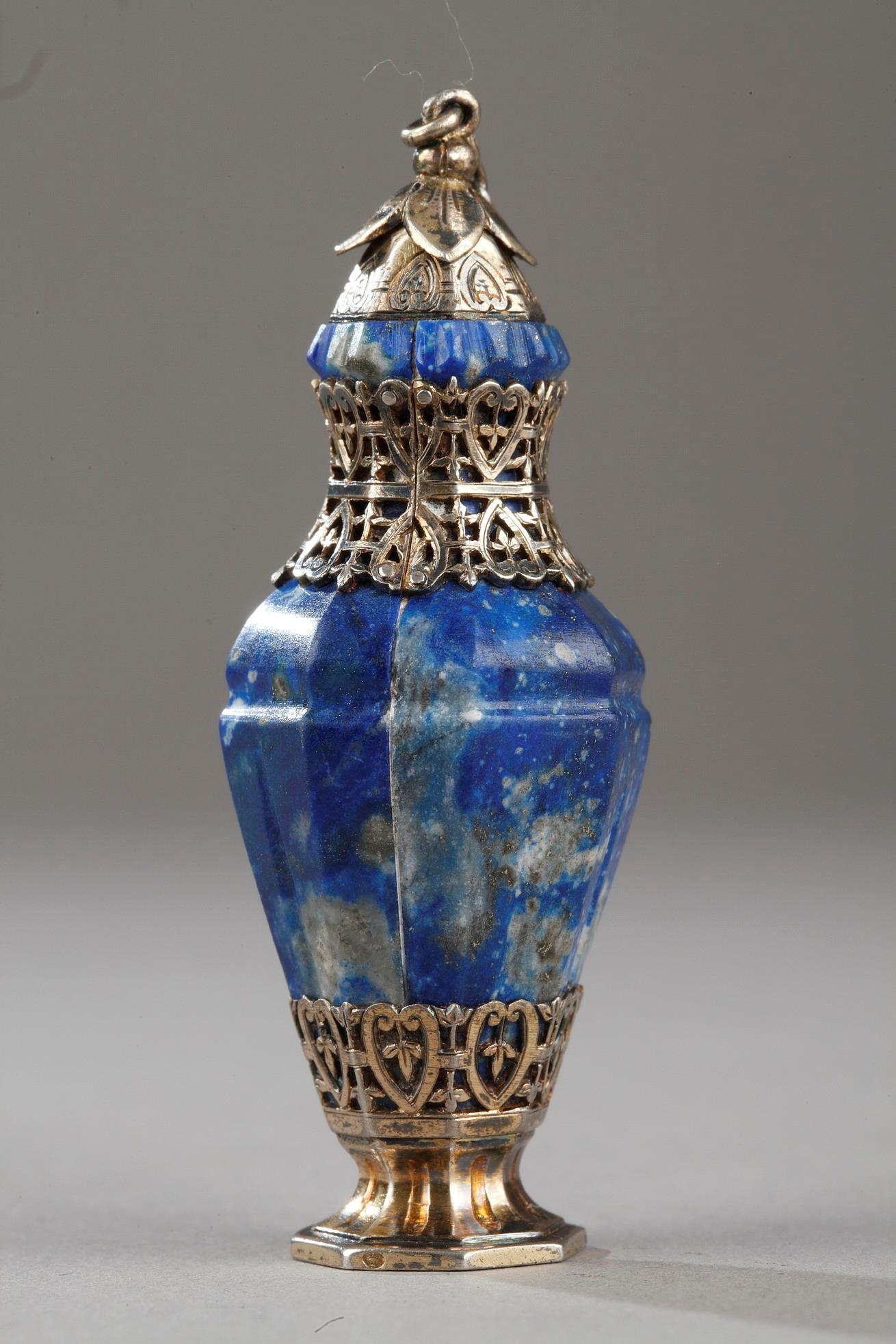 Silver And Lapis Lazuli Flask, 19th Century.