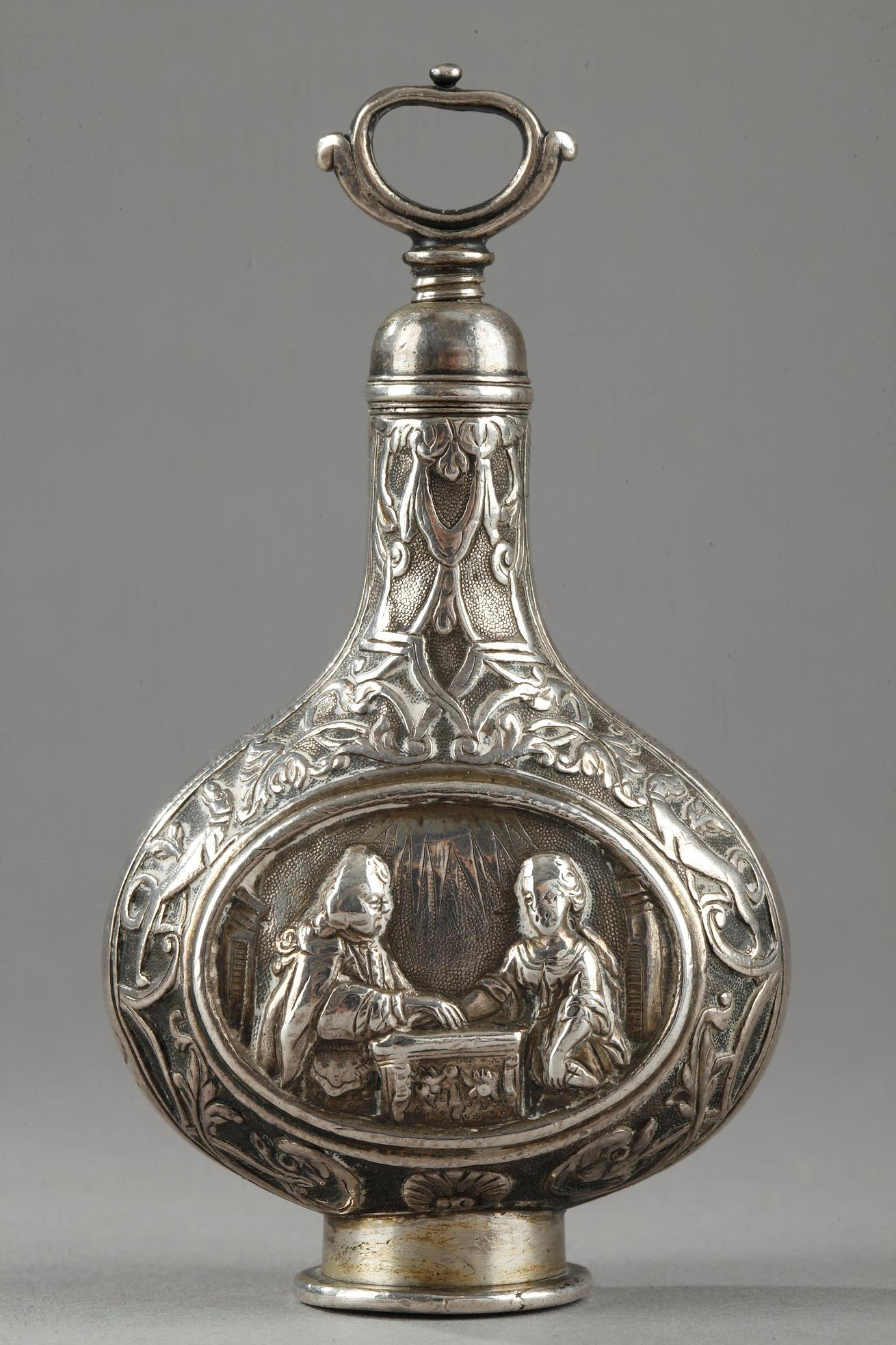 A Silver Scent Bottle in the Shape of a Pilgrim Flask. German 18th century.