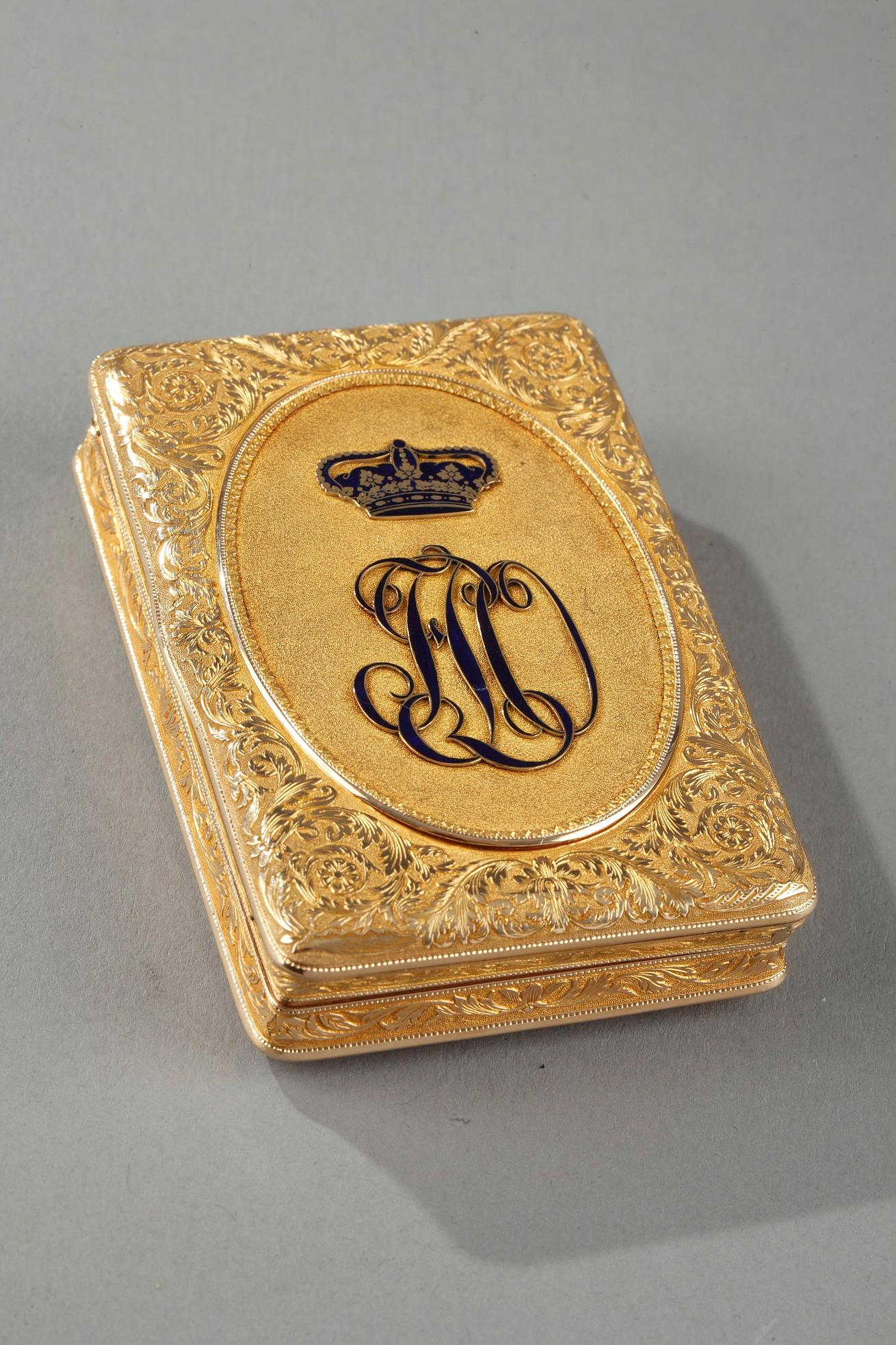 Mid-19th century Gold snuff box with monogram of Duke of Orleans, Ferdinand Philippe Louis.