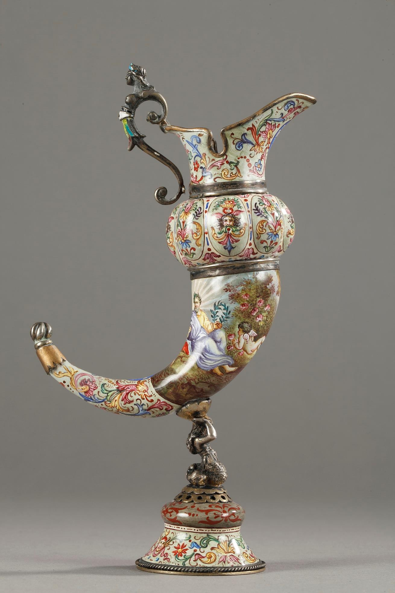 Silver and enamel drinking horn by Rudolf Linke