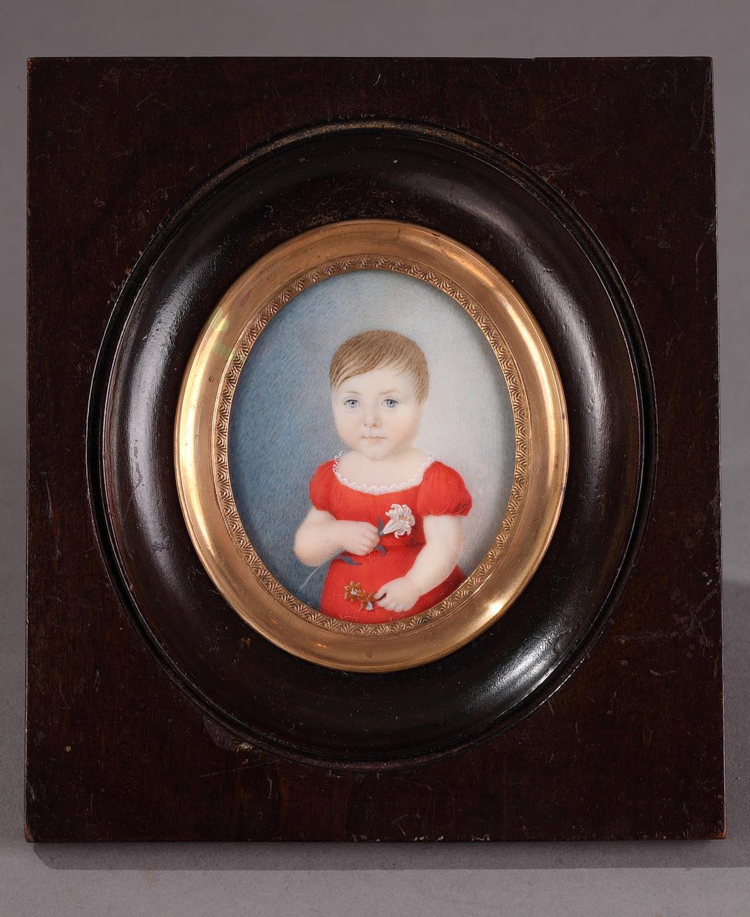 19th century miniature on ivory. Portrait of a children.
