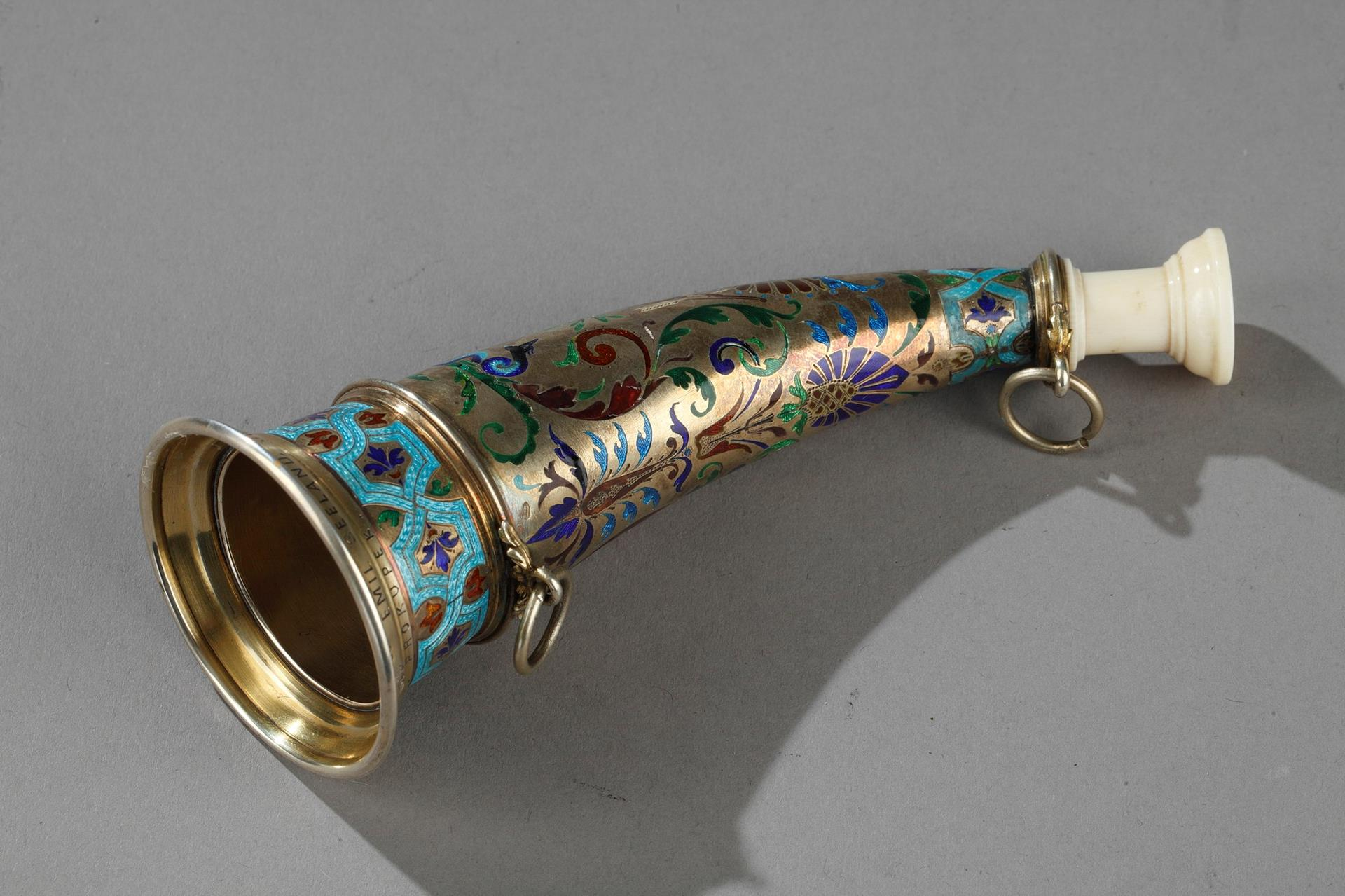 Austrian silver-gilt, enamelled and ivory mounted hunting horn.