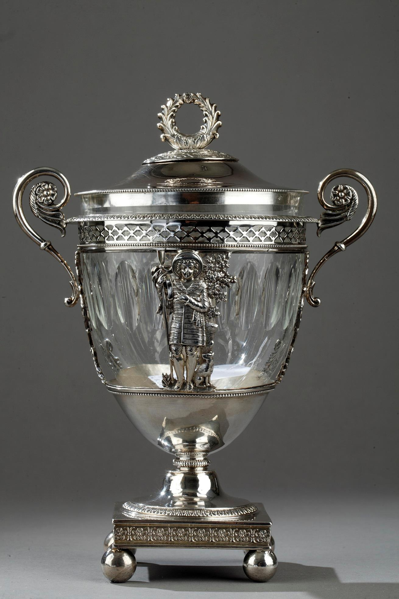 Early 19th century silver and crystal candy dish.