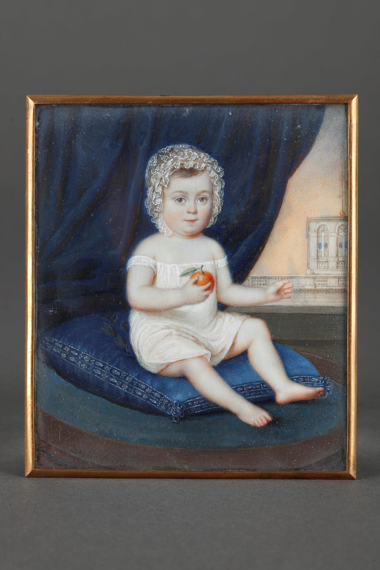 Miniature on ivory signed DAGOTY 1820.