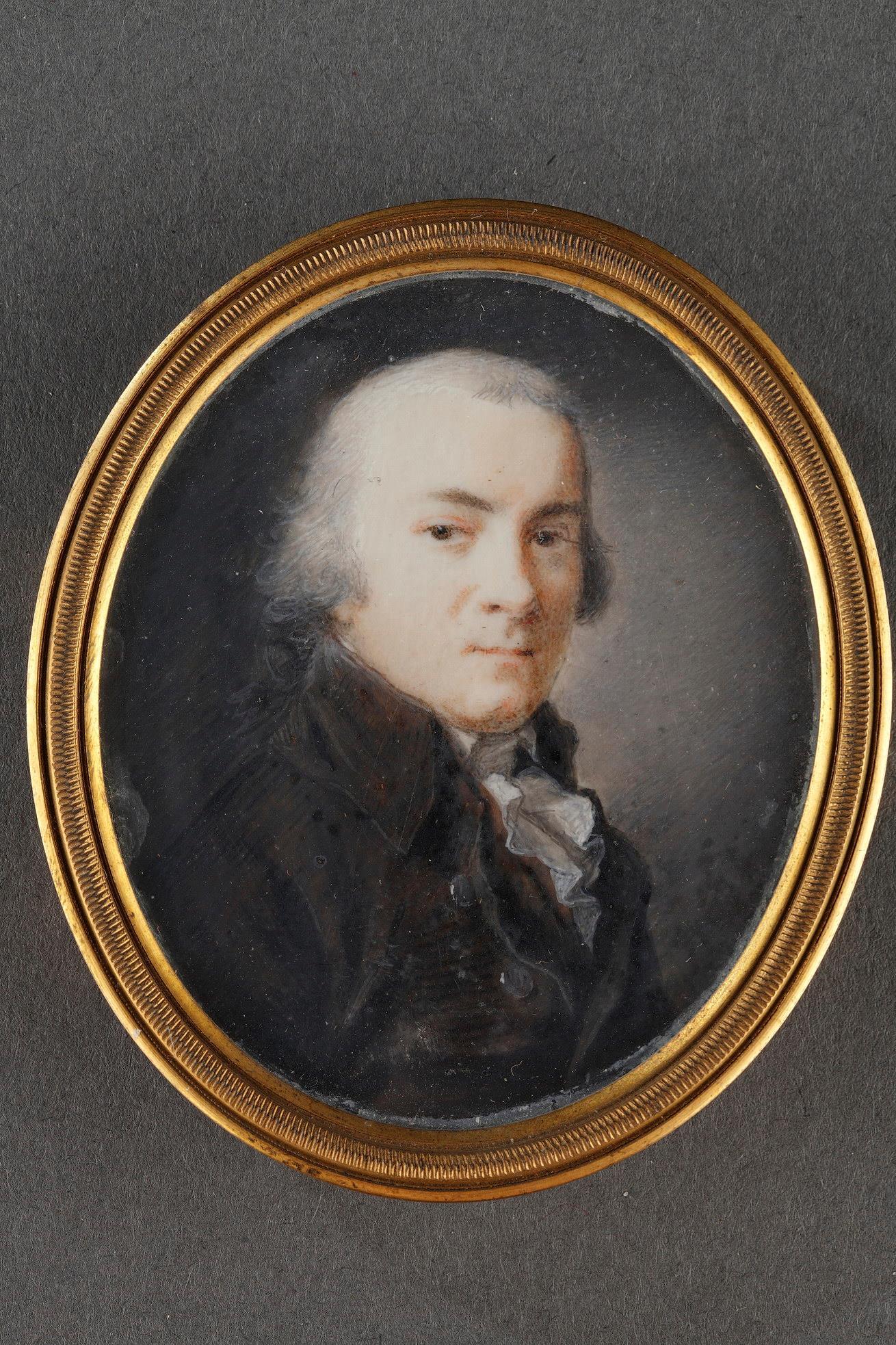 Portrait of a man on ivory. Signed Violet.