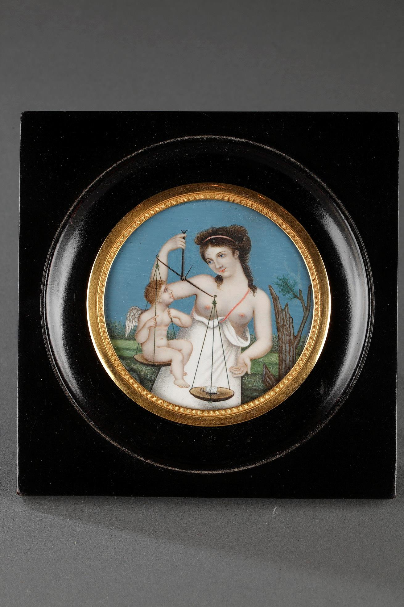 "Miniature on ivory ""Love lighter than the butterfly? "". Early 19th century."