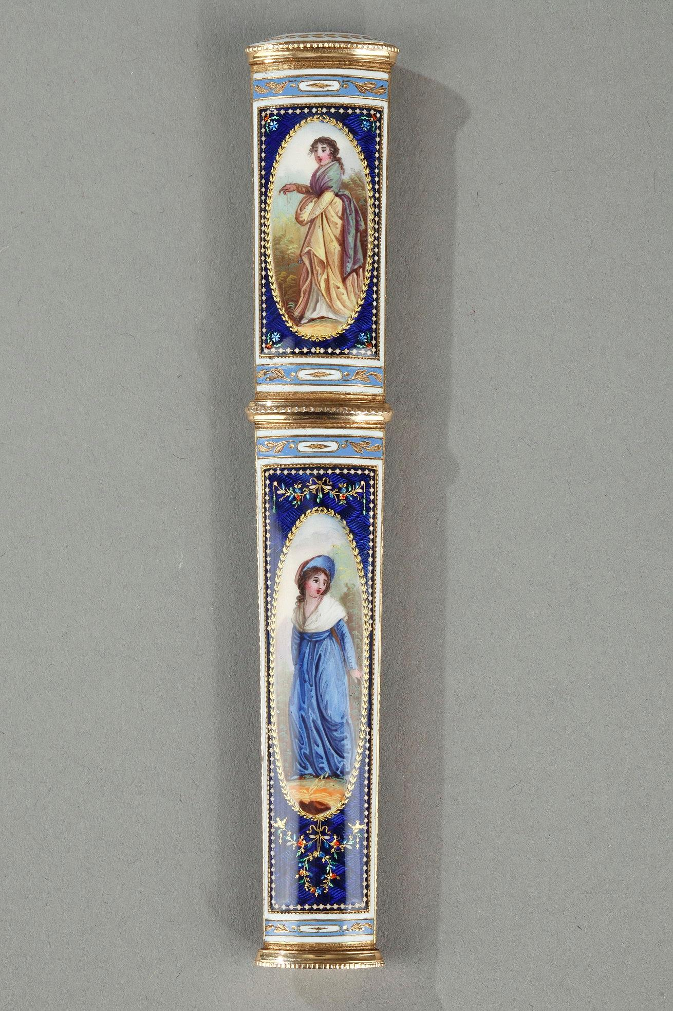 GOLD AND ENAMEL CASE. LATE 18TH CENTURY SWISS CRAFTSMANSHIP.