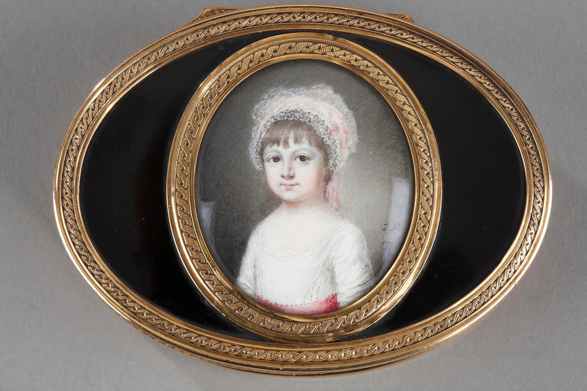 A Louis XV gold-mounted tortoiseshell portrait snuff box. Circa 1771-1774.