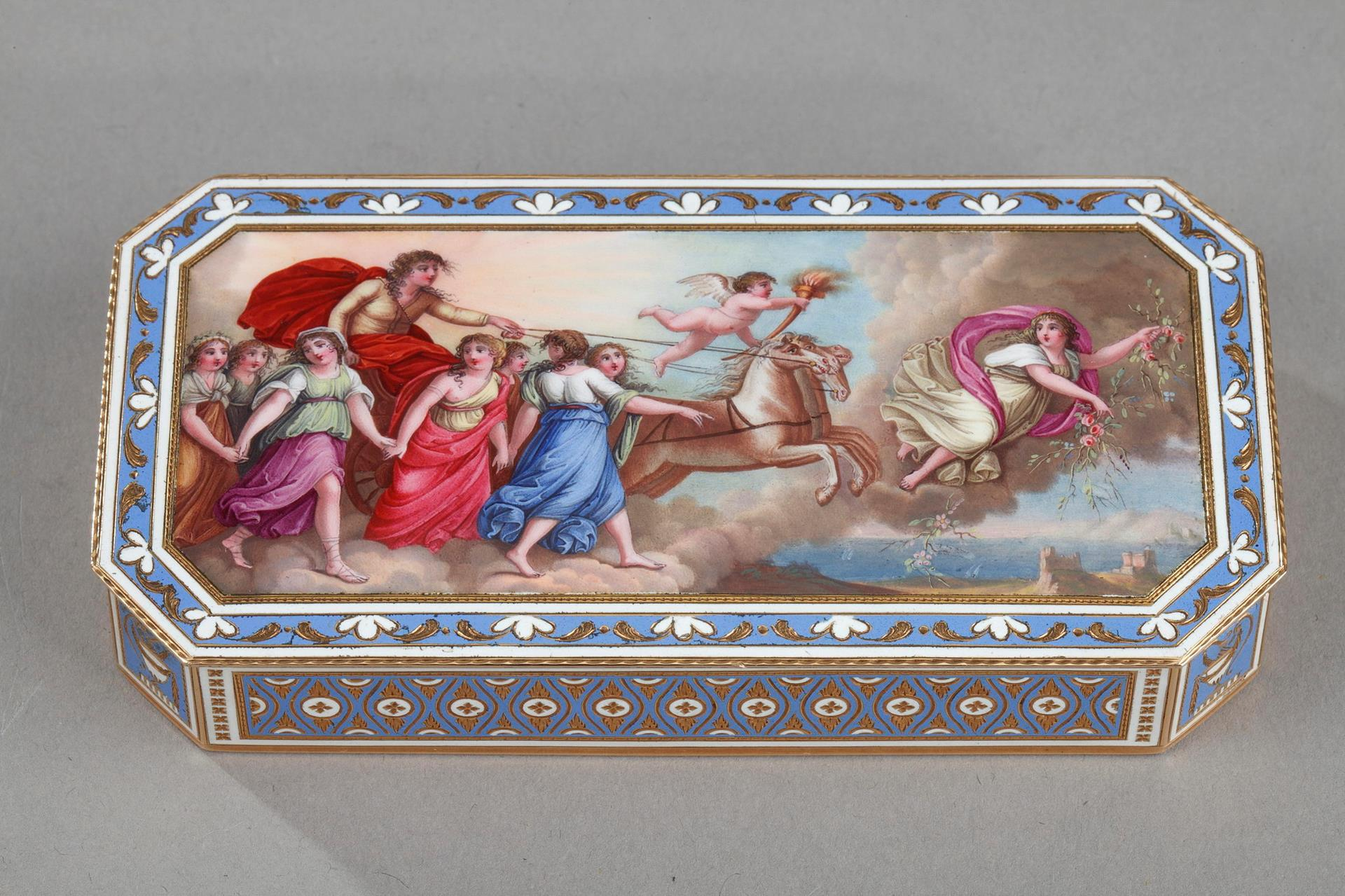 End-18th century SWISS ENAMELLED GOLD SNUFF-BOX BY GUIDON, RÉMOND & GIDE
