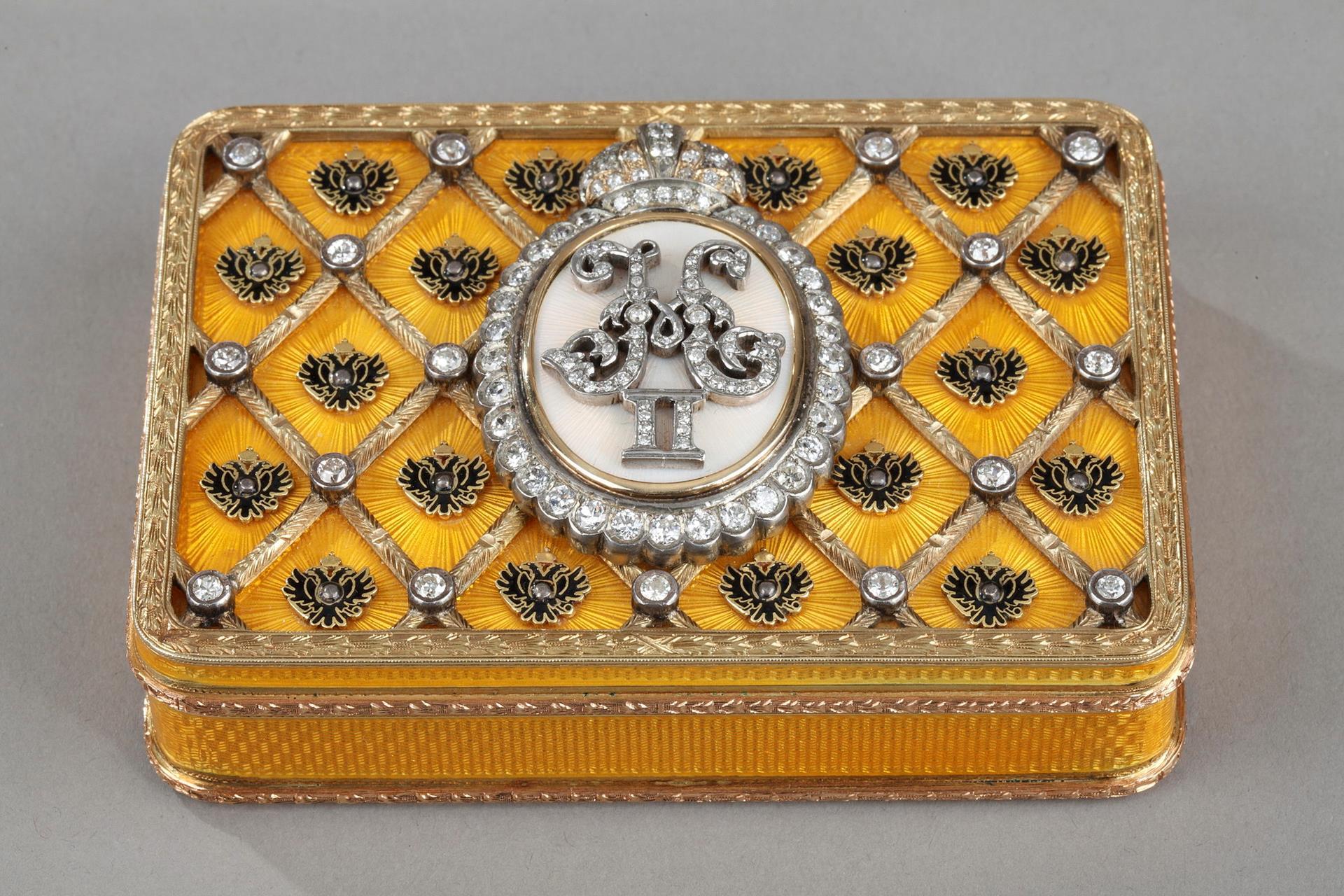 Tsar Nicholas II coronation snuff box. In homage to FABERGE. Early 20th century.