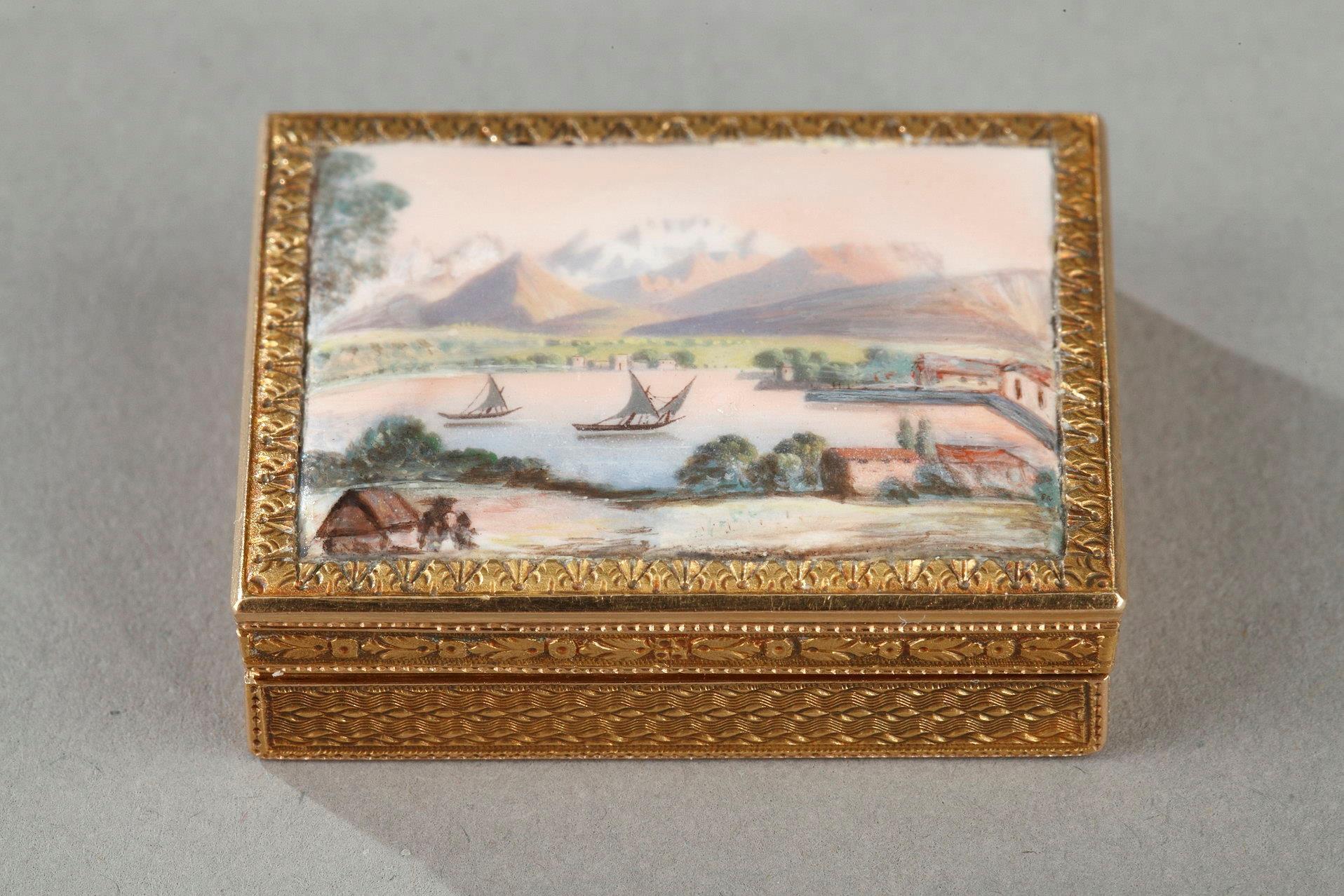 ENAMELED GOLD VINAIGRETTE. <br/> EARLY 19TH CENTURY WORK.