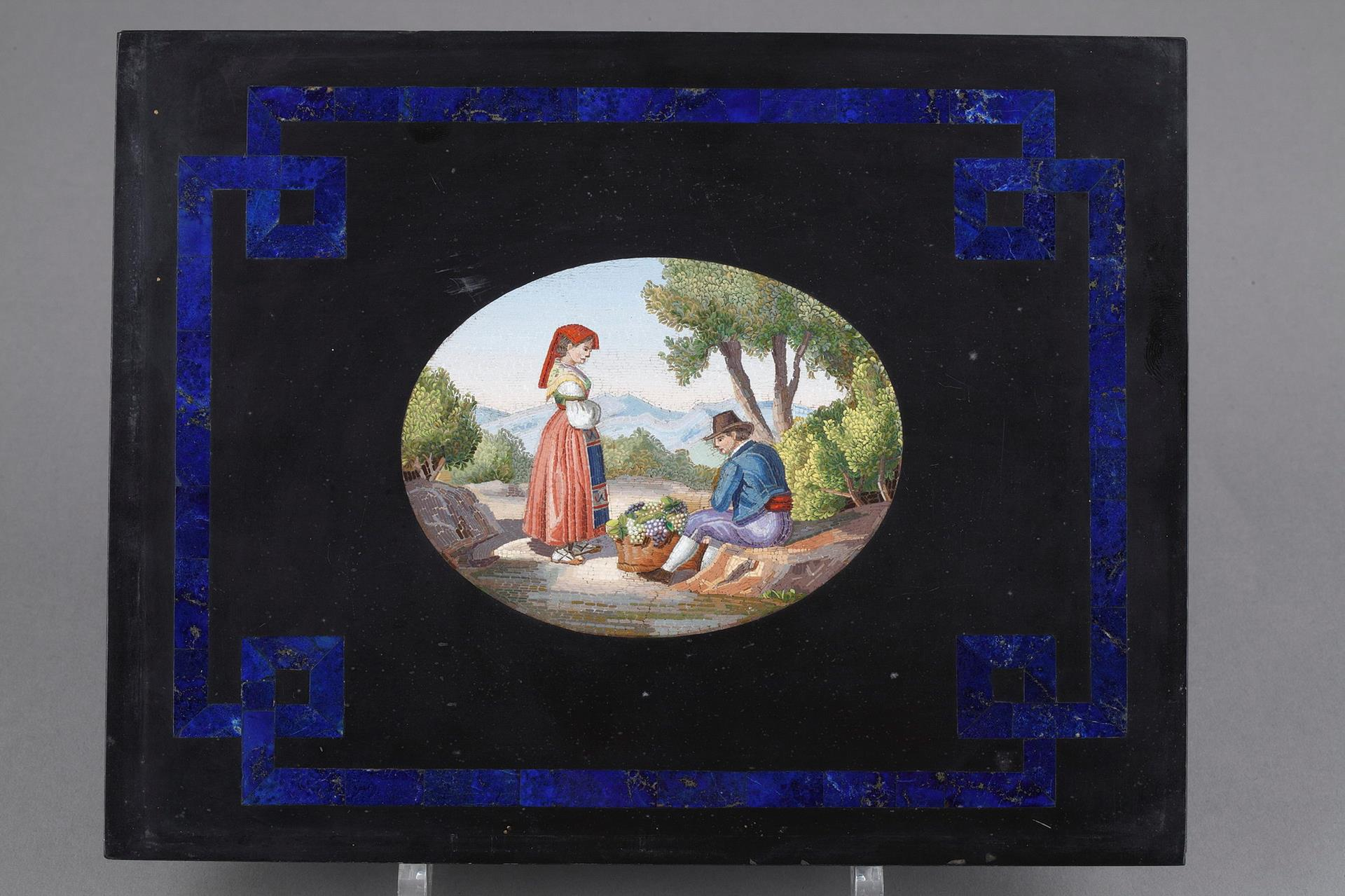 LARGE BLACK MARBLE PLATE, LAPIS LAZULI, AND MICROMOSAIC.<br/> MID-19TH CENTURY WORK