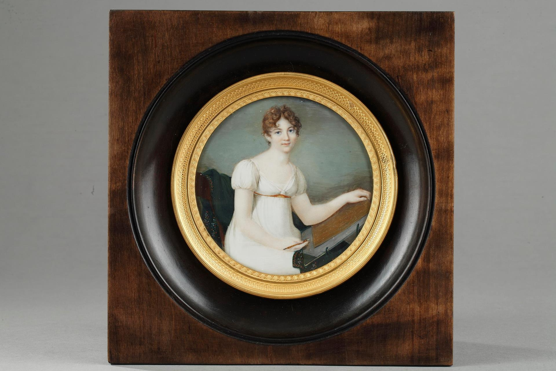 Miniature on Ivory. Portrait of A Young Woman. Circa 1815-1820