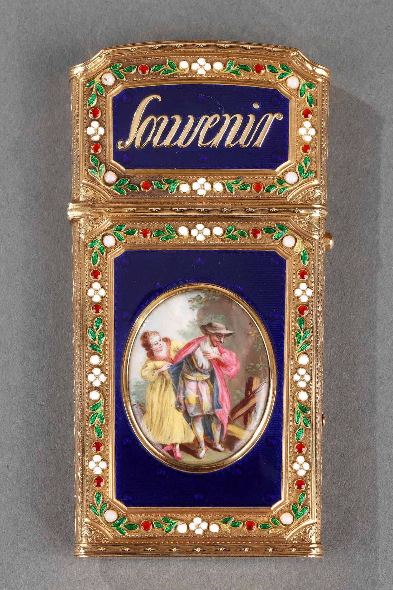 WRITING CASE IN ENAMELED GOLD.<br/> LATE 18TH CENTURY WORK.