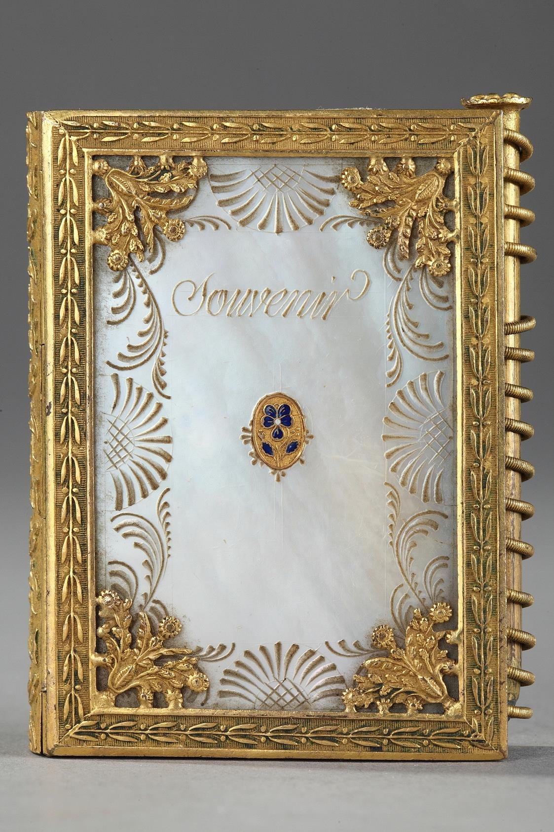 Charles X dance card in mother of pearl and bronze.  Circa 1815-1830.