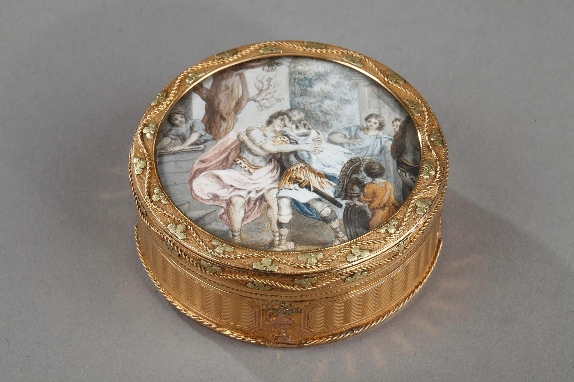 18th century gold box with miniature on ivory.