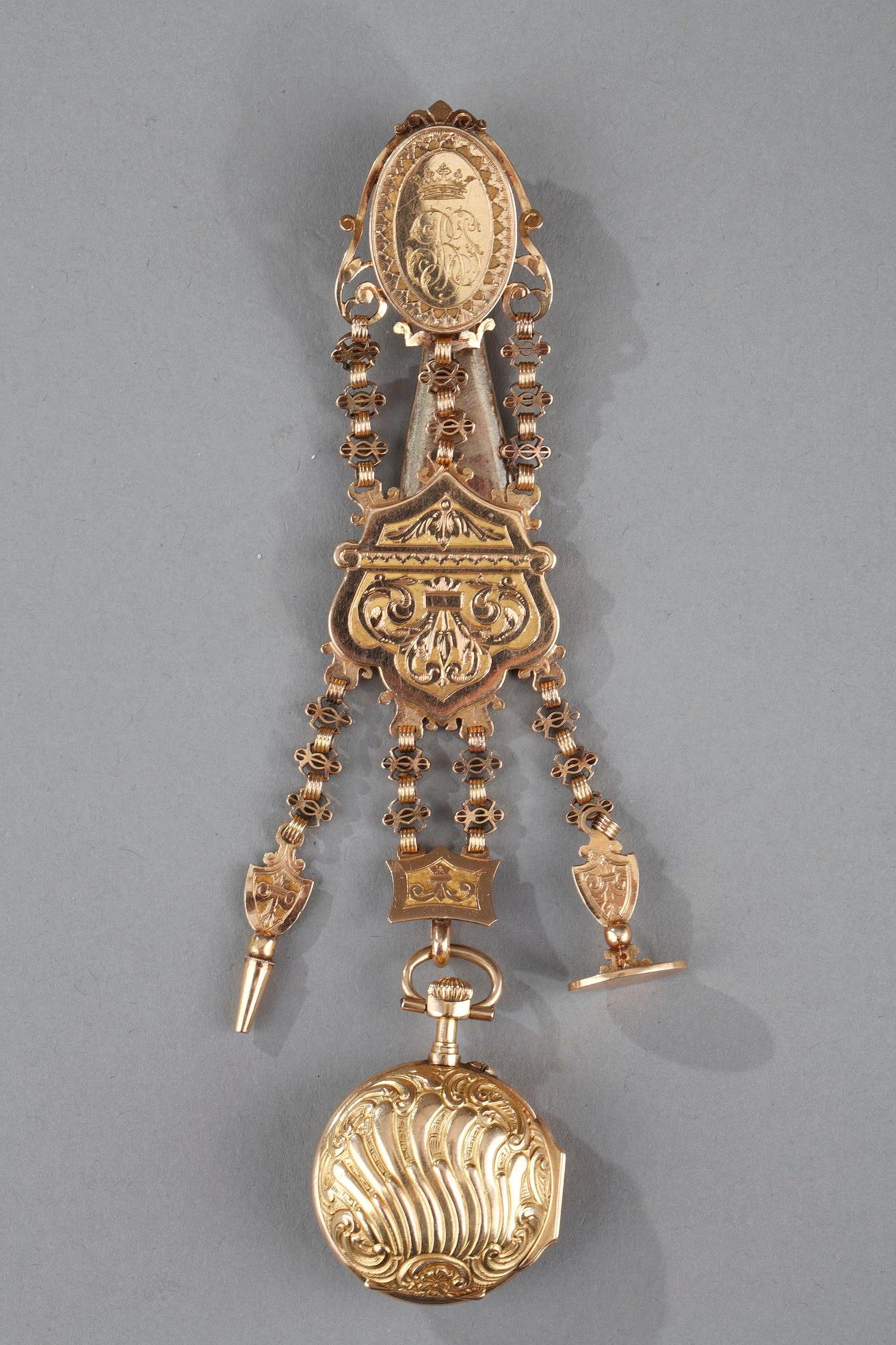 Colored Gold Chatelaine And Watch 19th Century.
