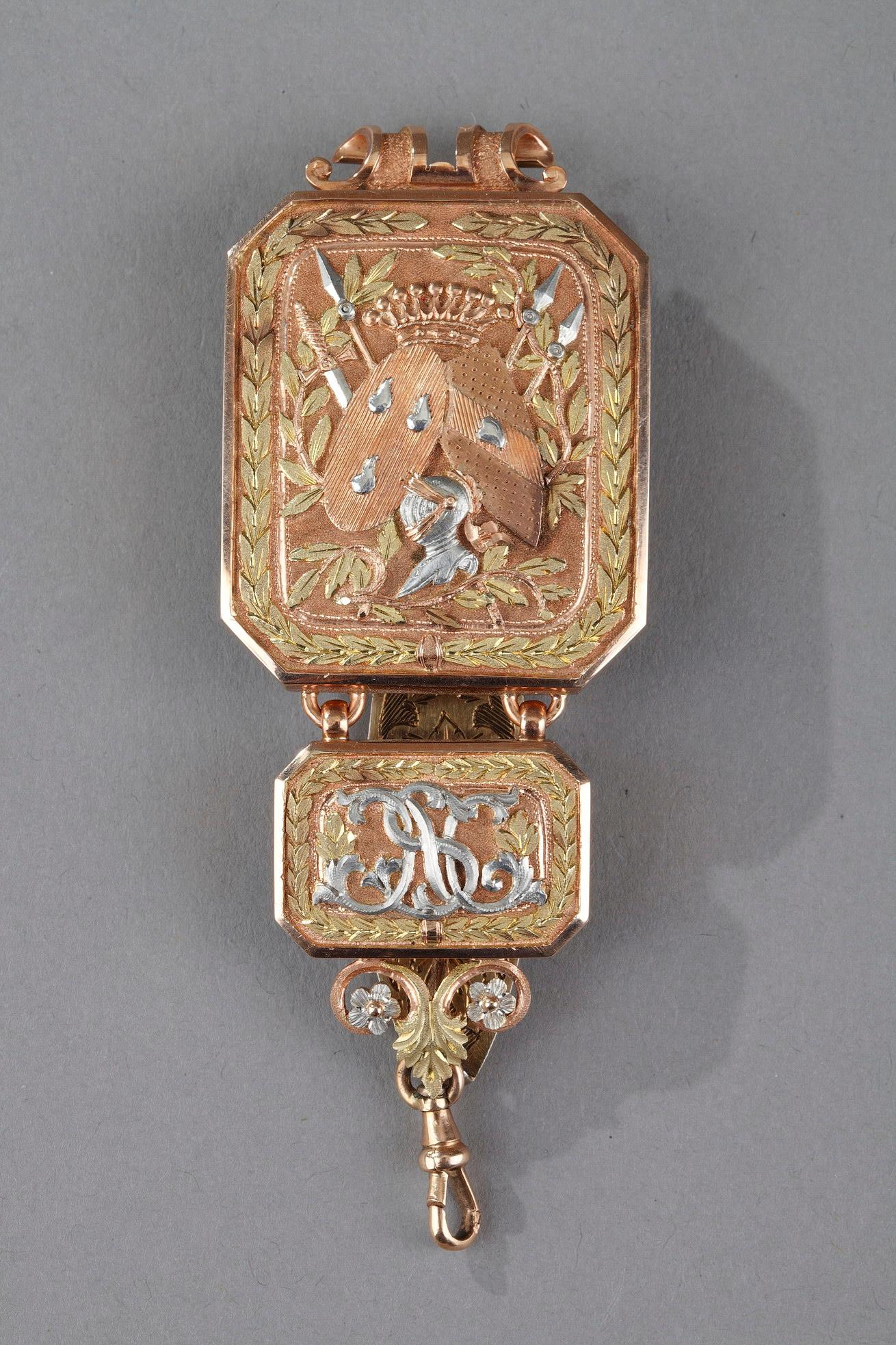 CHATELAINE IN GOLD, mid-19th century.