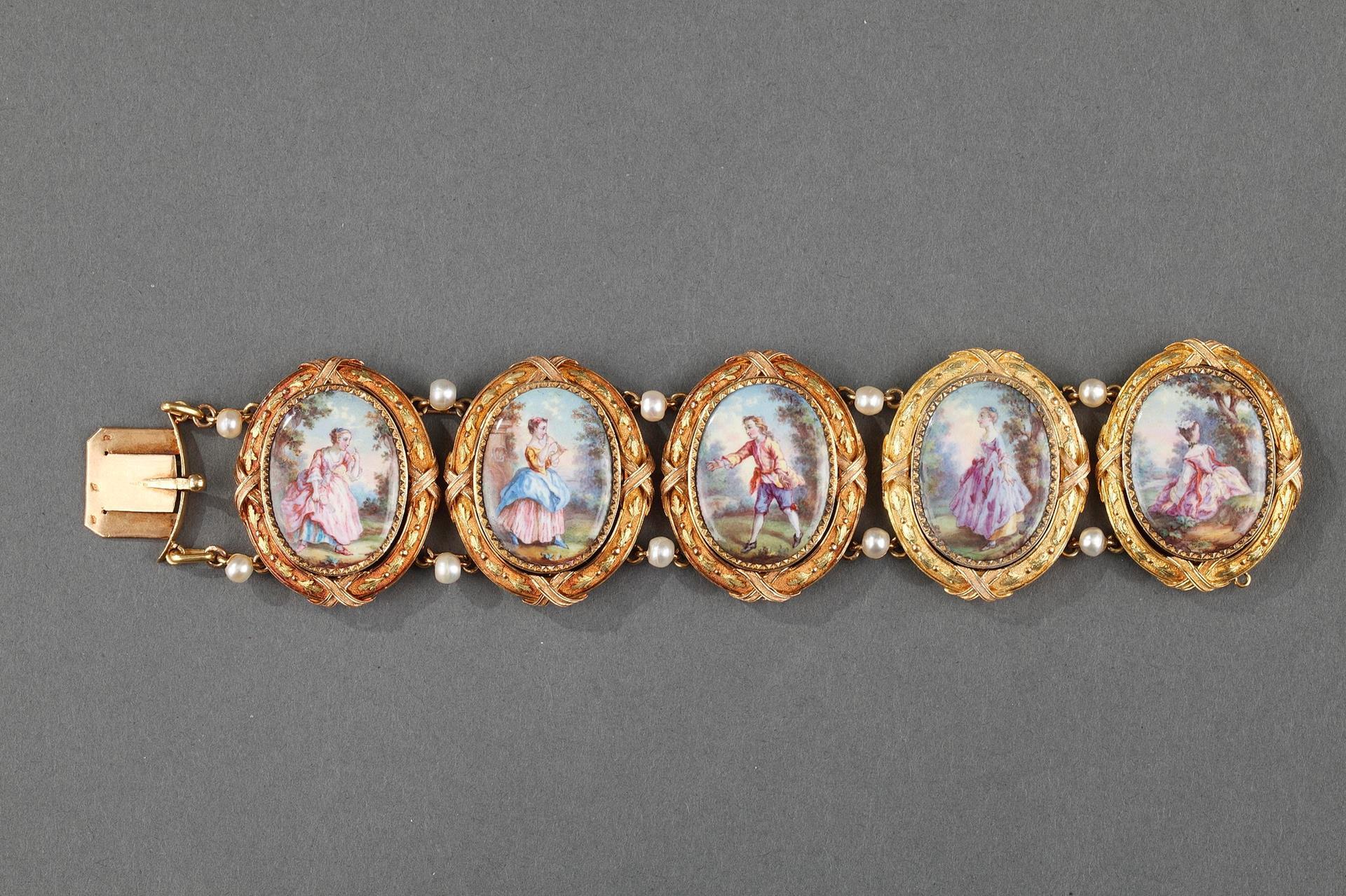 Gold and enamel bracelet. Mid 19th century.