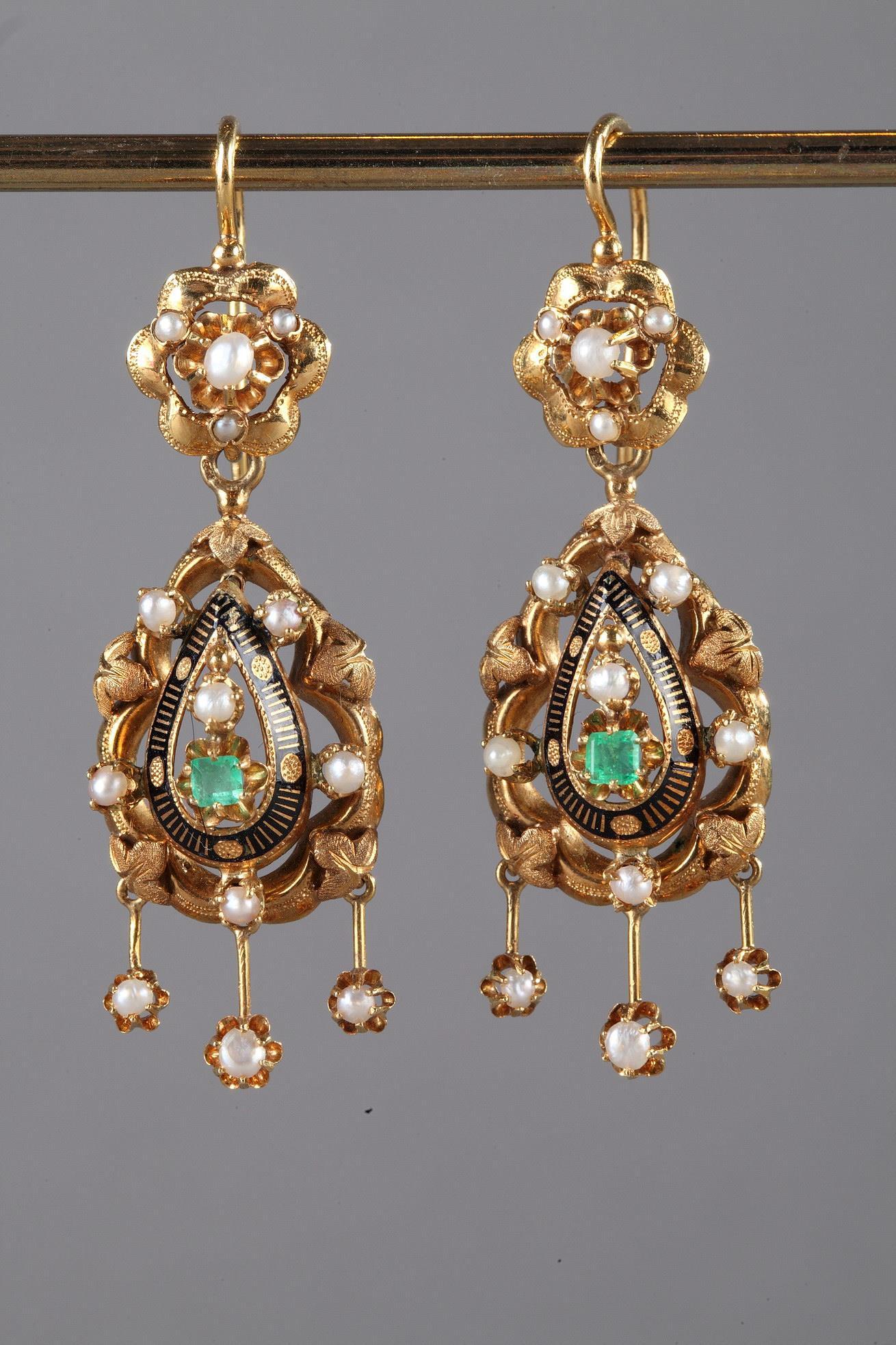 Pair of Gold, Enamel, Pearl, and Emerald Earrings