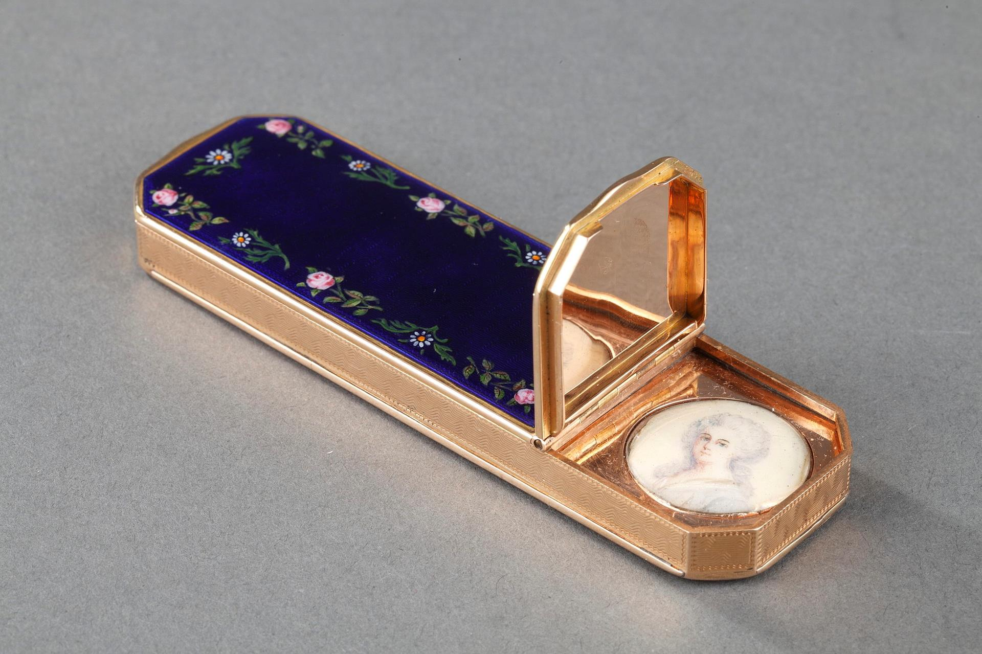 Enameled Gold Case with Miniature on Ivory – 19th Century