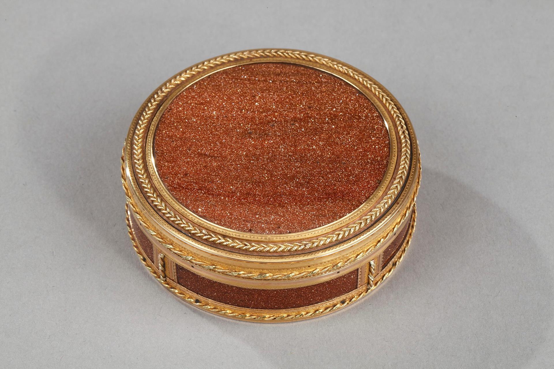 Louis XVI gold mounted aventurine glass box. Circa 1784