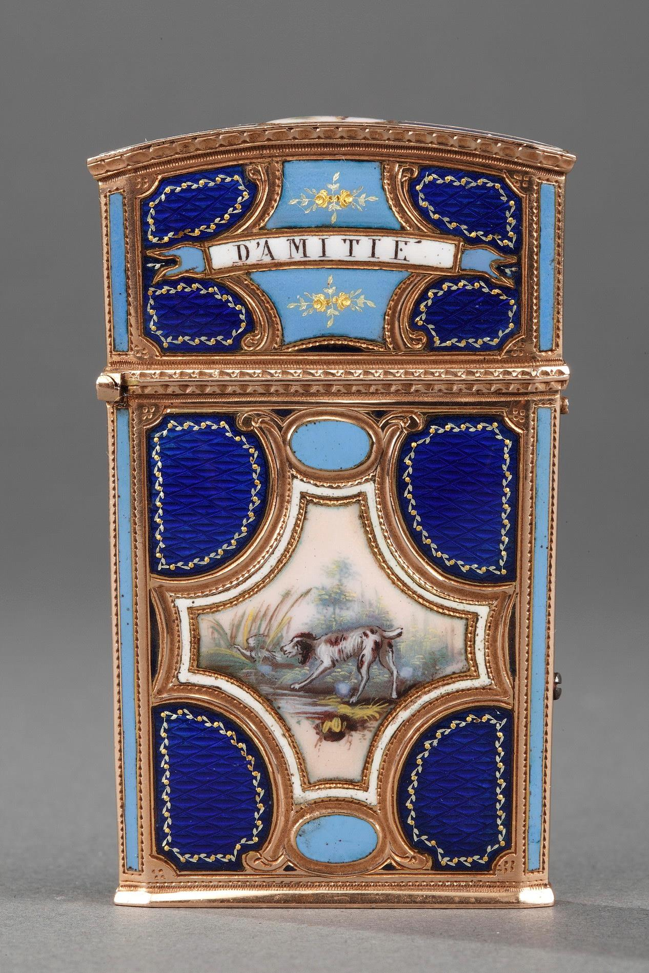 18th Century Gold, enamel and ivory tablet case.