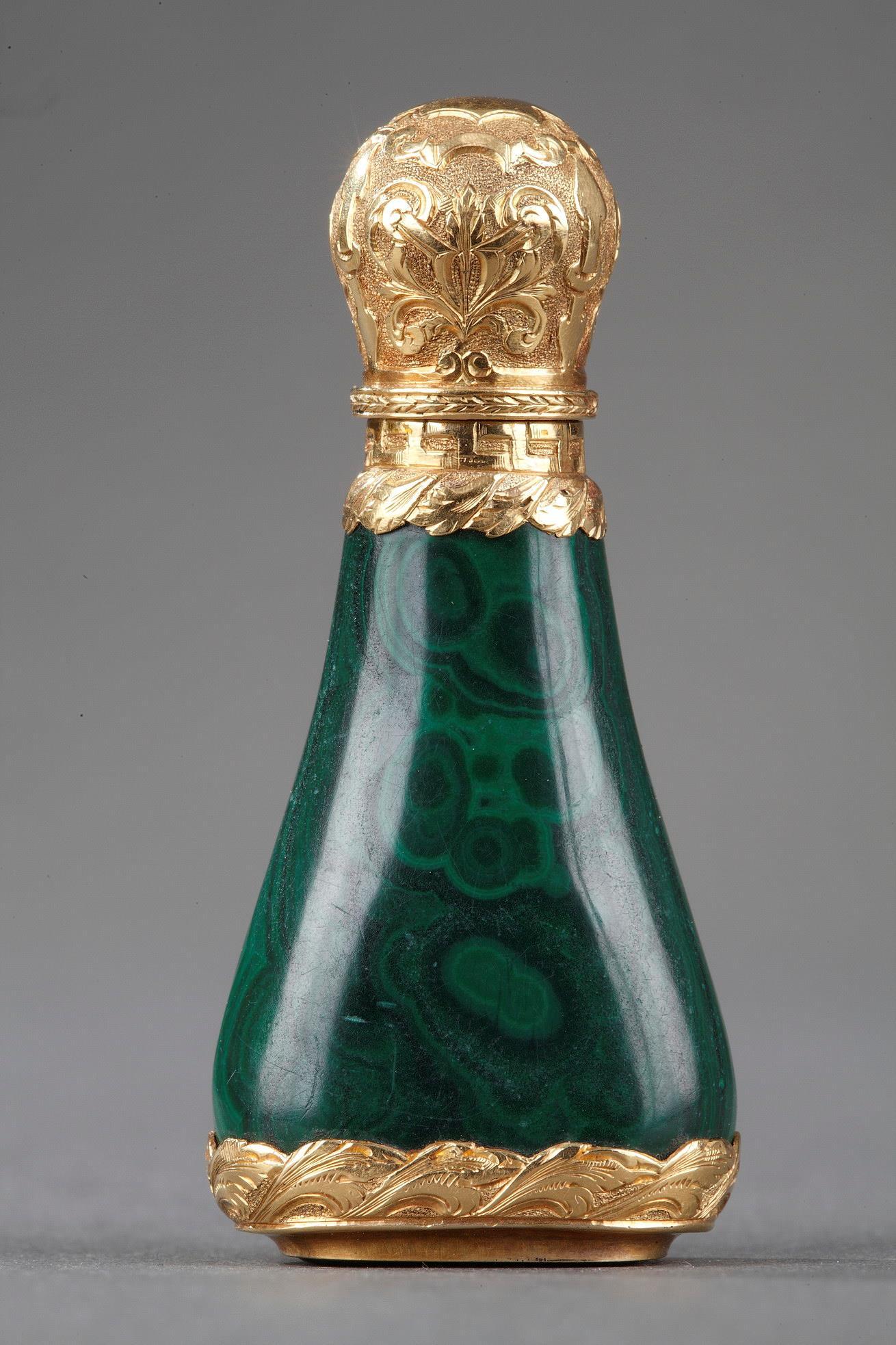 Gold mounted Malachite perfume flask. Mid-19th