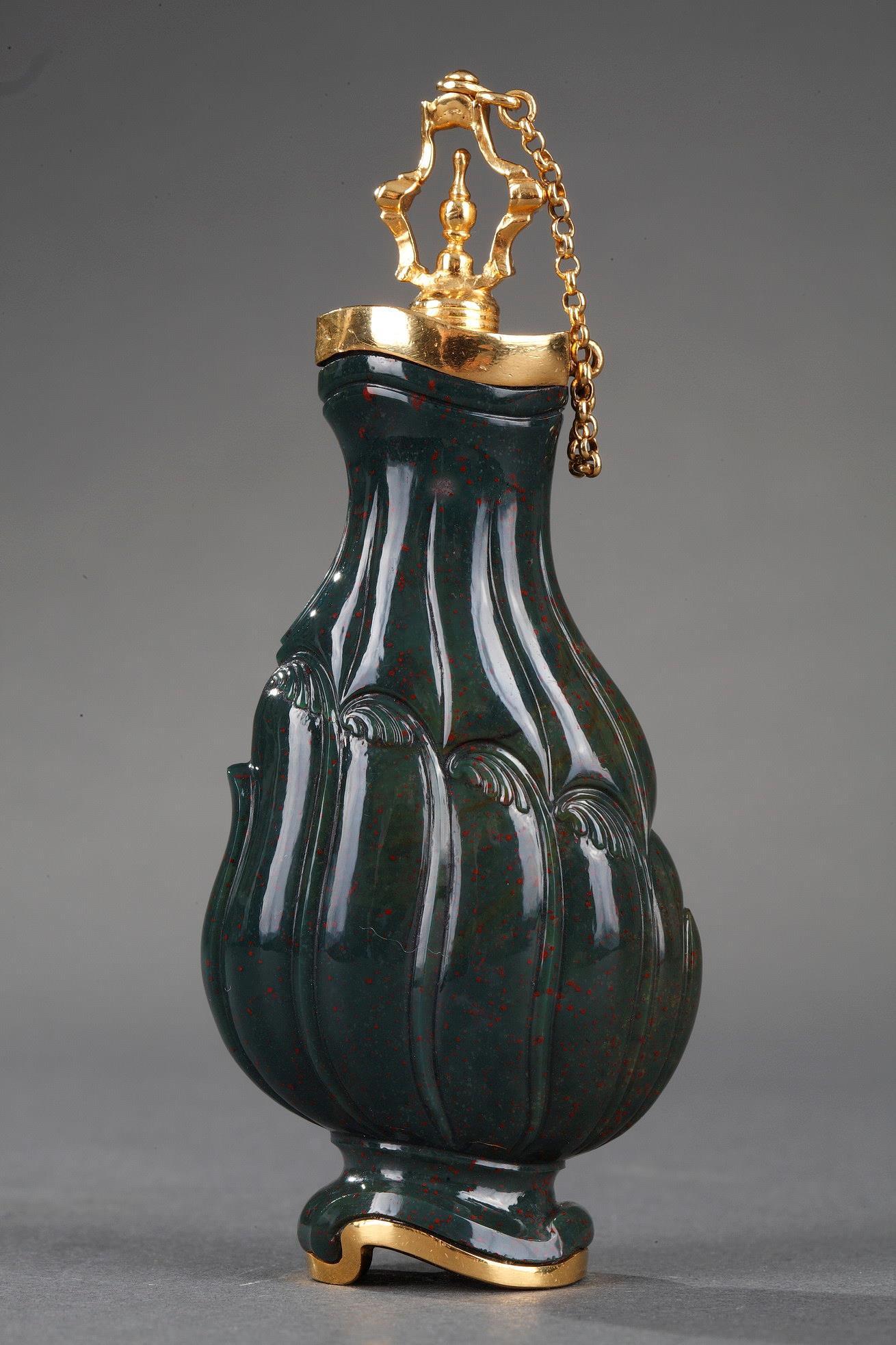 Jasper and Gold Flask 18th Century. English Craftsmanship.