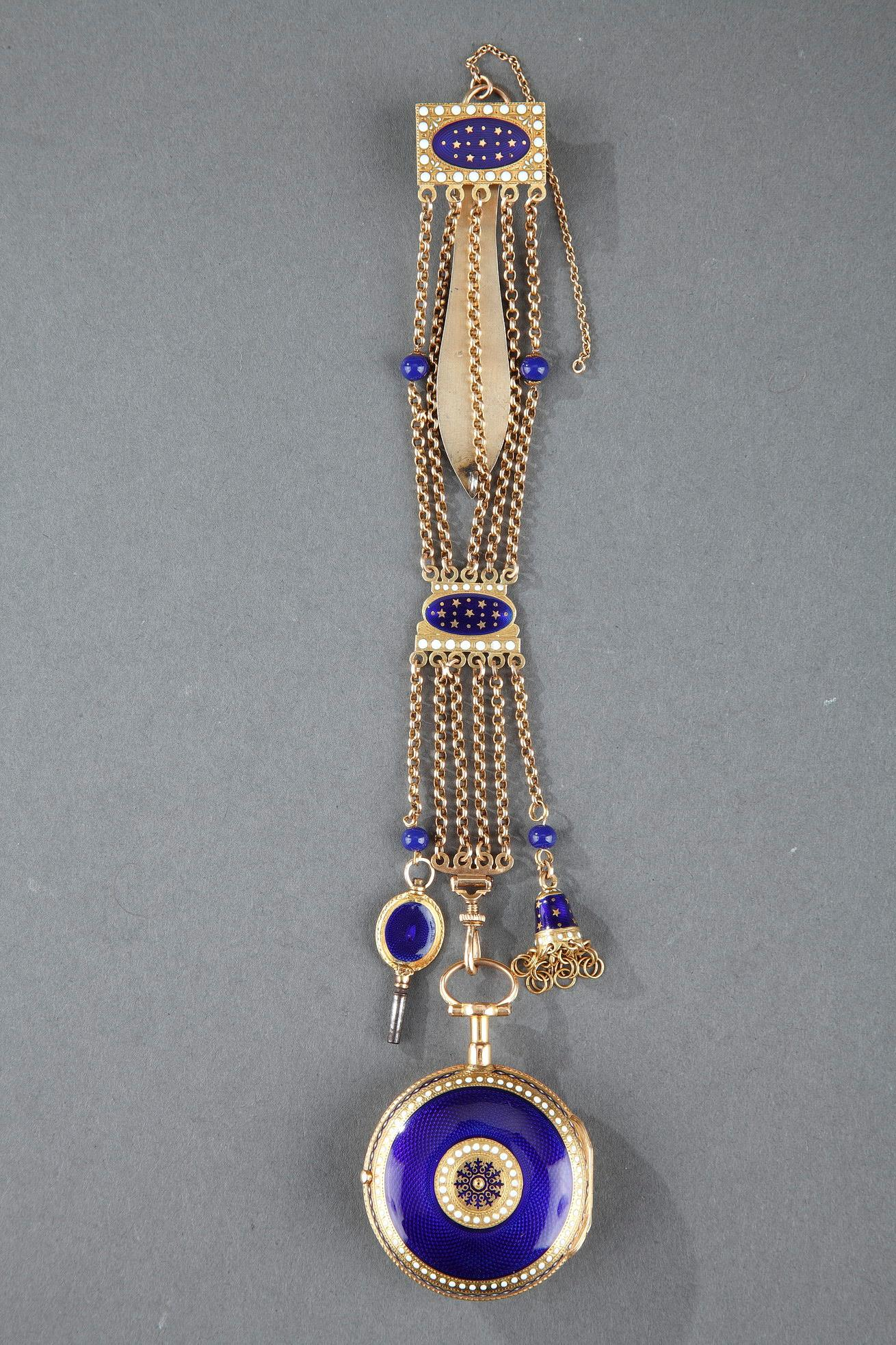 Enameled Gold Chatelaine with Watch by C-T Guenoux.<br> 18th Century.