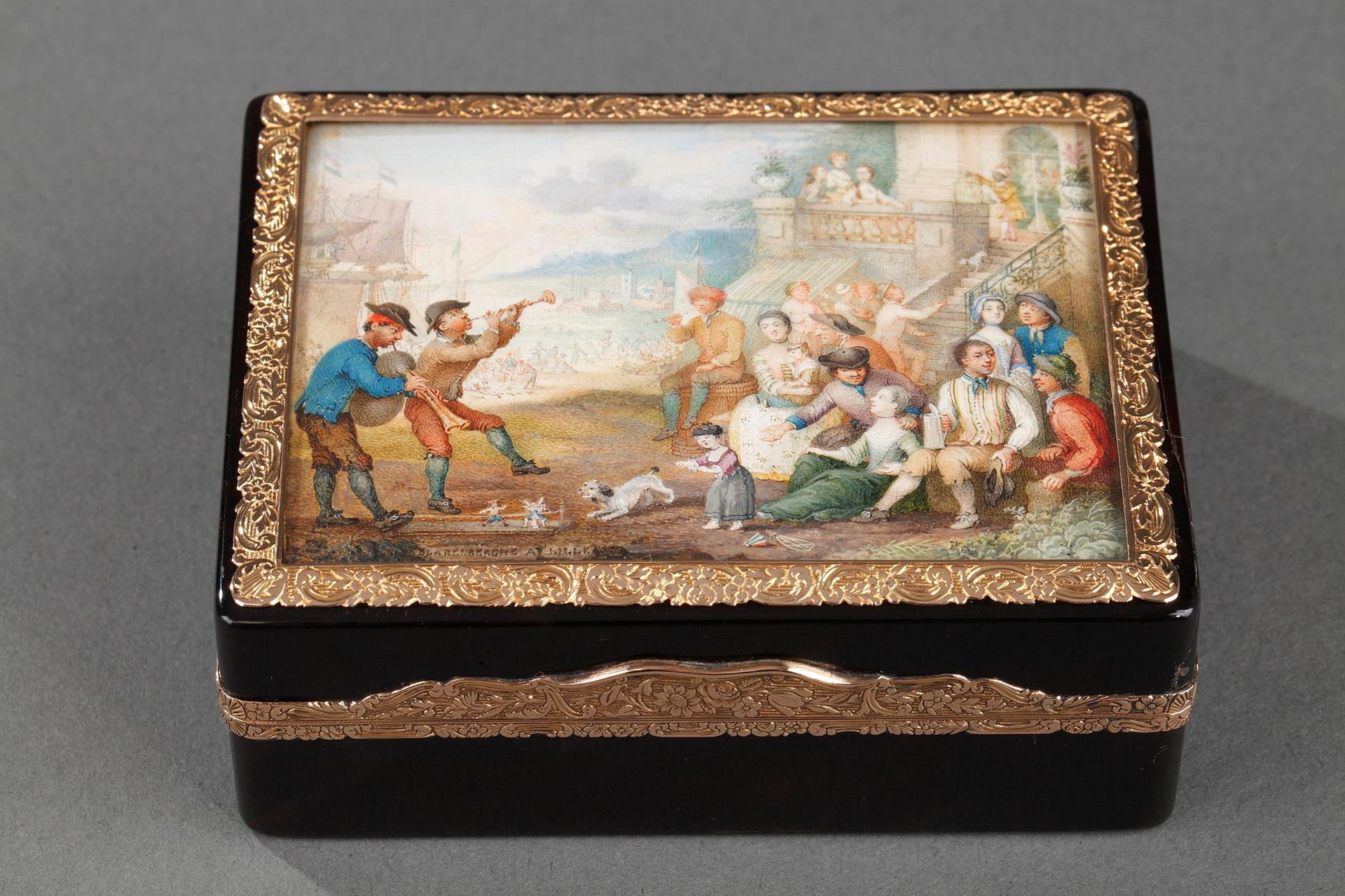 A Mid- 18th century Tortoiseshell ,gold cagework snuff box signed VAN BLARENBERGHE A LILLE