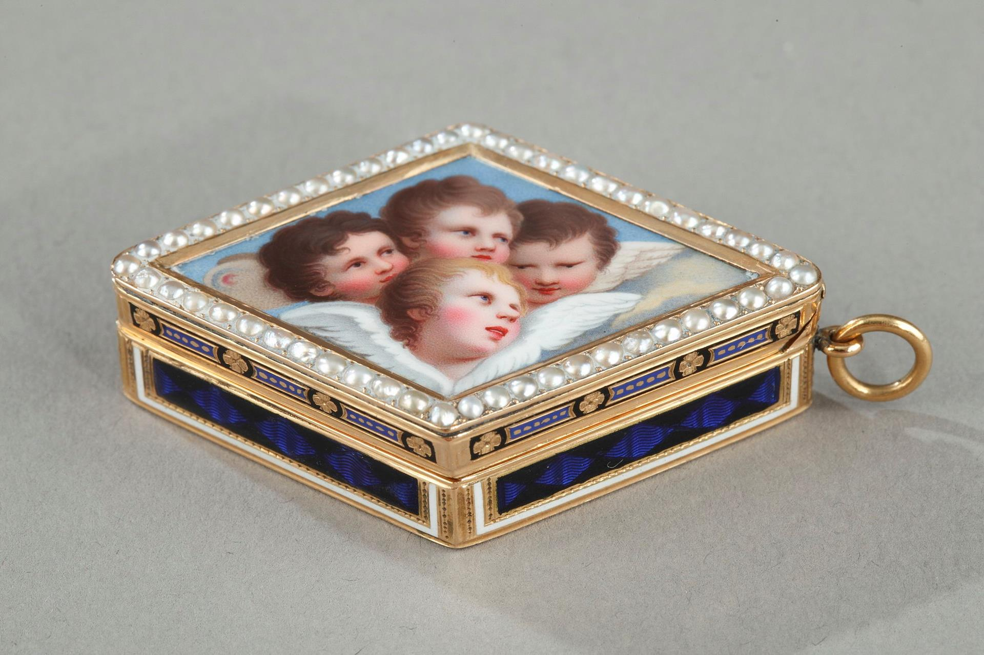 GOLD VINAIGRETTE WITH PEARLS AND ENAMEL.<br/> LATE 18TH CENTURY SWISS WORK.