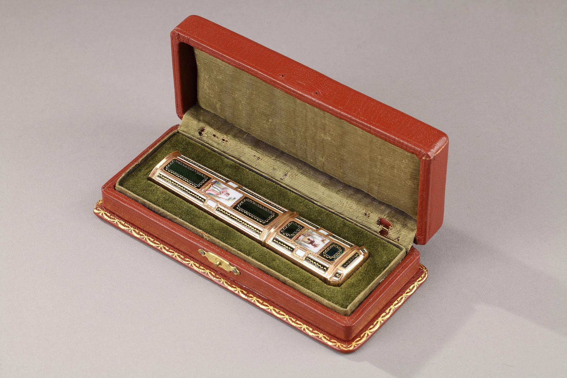 Late 18th Century  SWISS ENAMELLED GOLD SEALING-WAX CAS.<br>GENEVA.