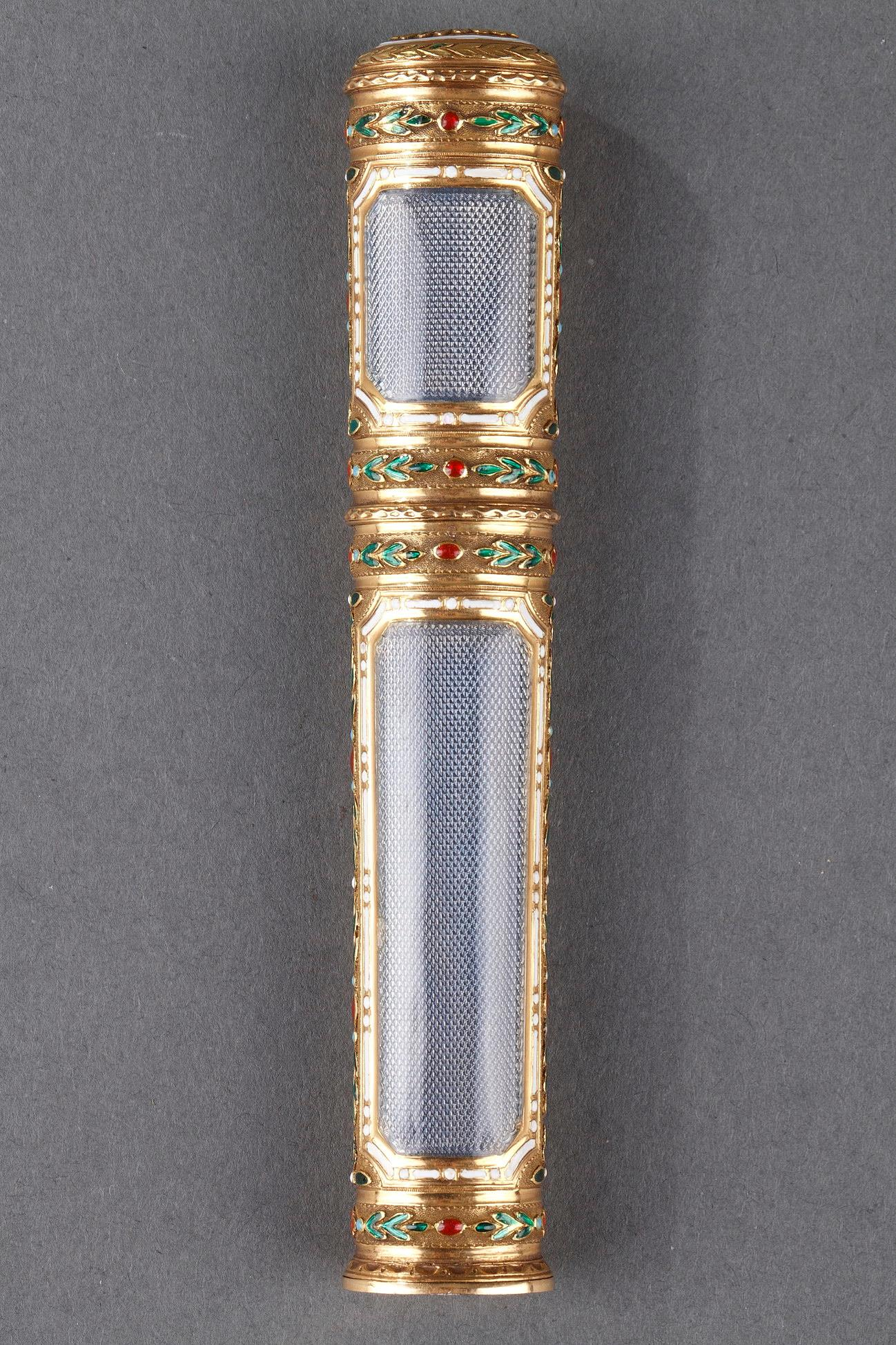 GOLD AND ENAMEL CASE FOR WAX.<br/>LOUIS XVI PERIOD.