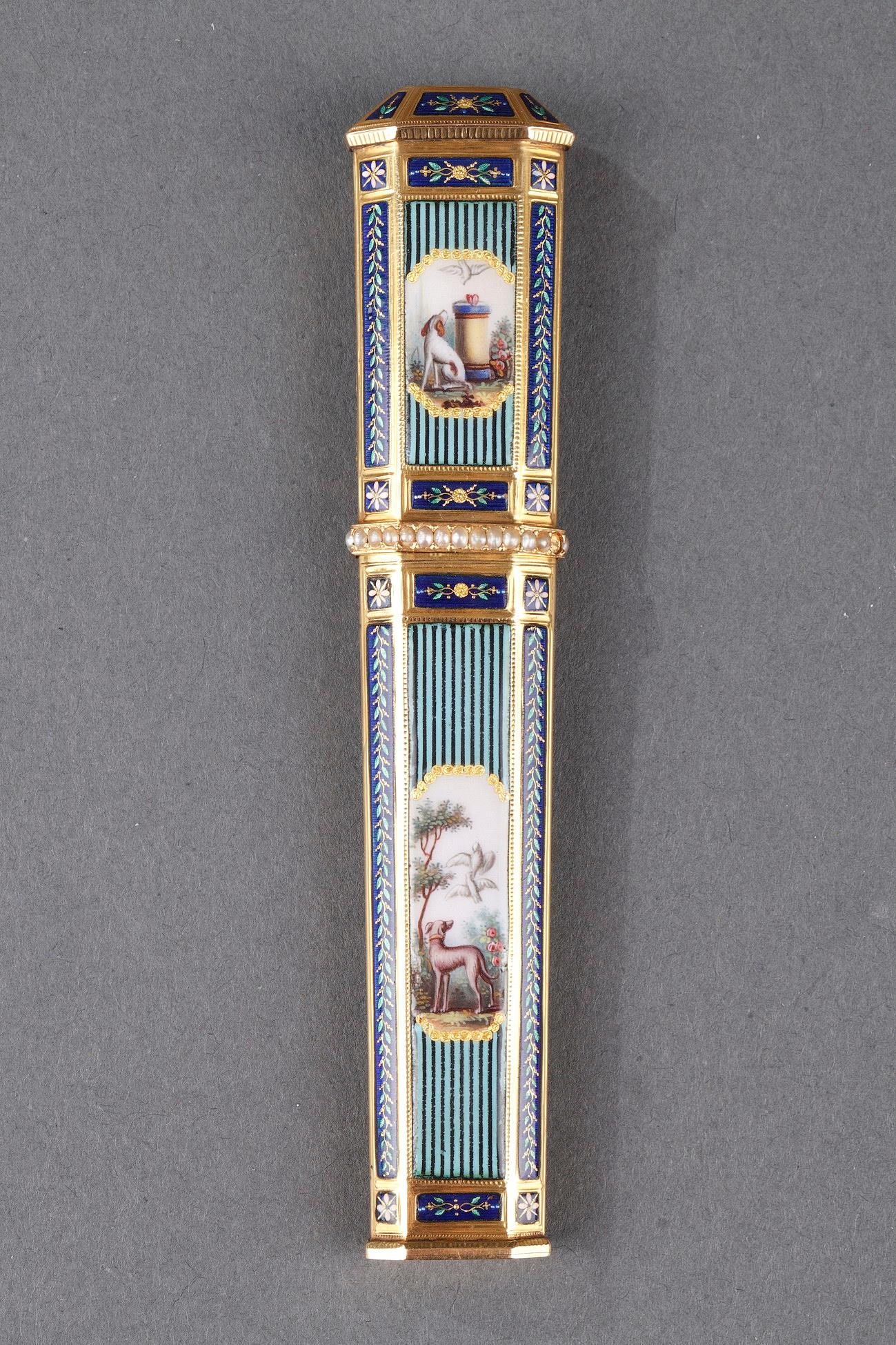 GOLD, ENAMEL, AND PEARL NEEDLE CASE. <br/> SWISS CRAFTSMANSHIP. LATE 18TH CENTURY.
