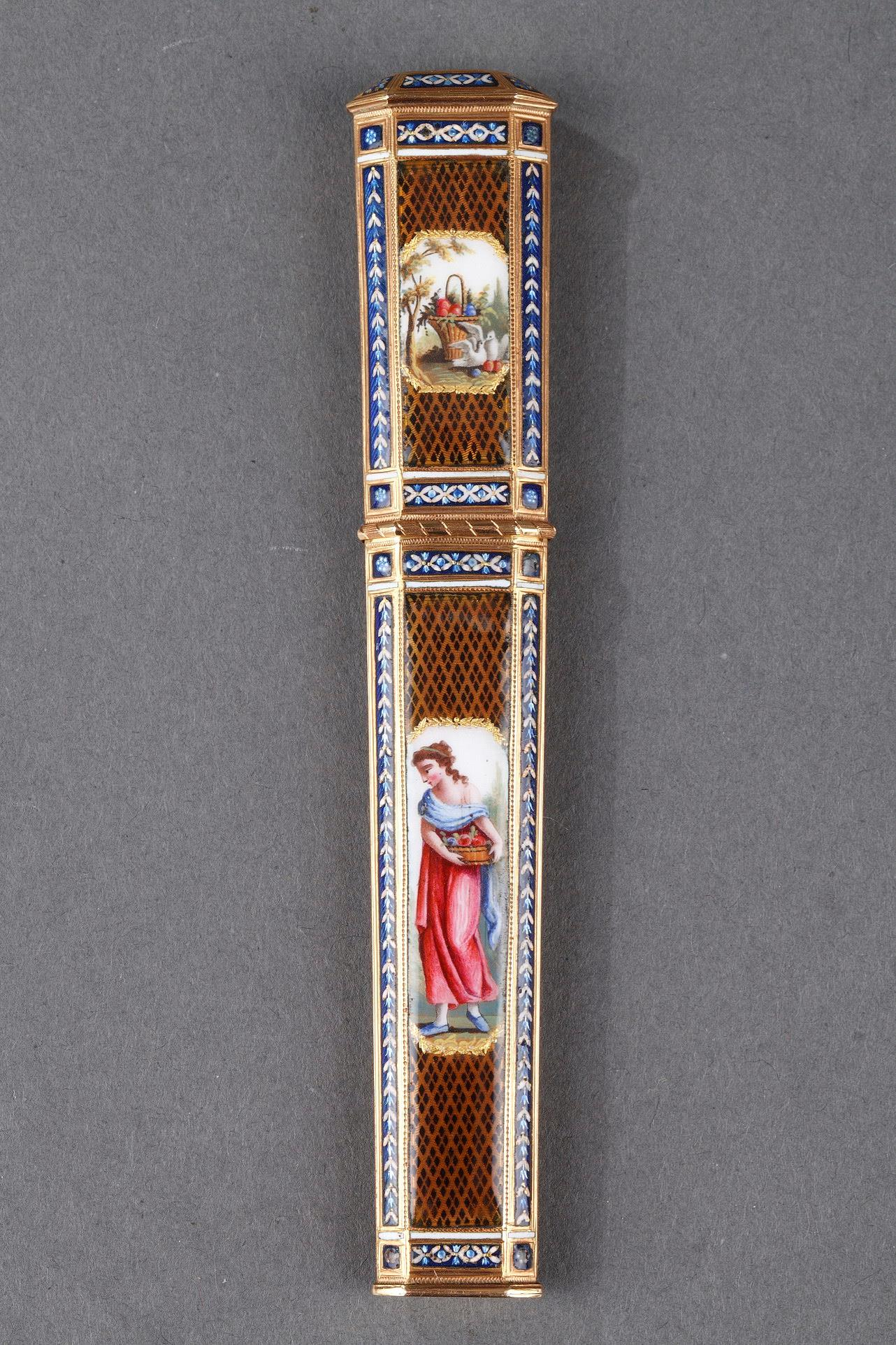 GOLD AND ENAMEL NEEDLE CASE.<br/> LATE 18TH CENTURY SWISS WORK.