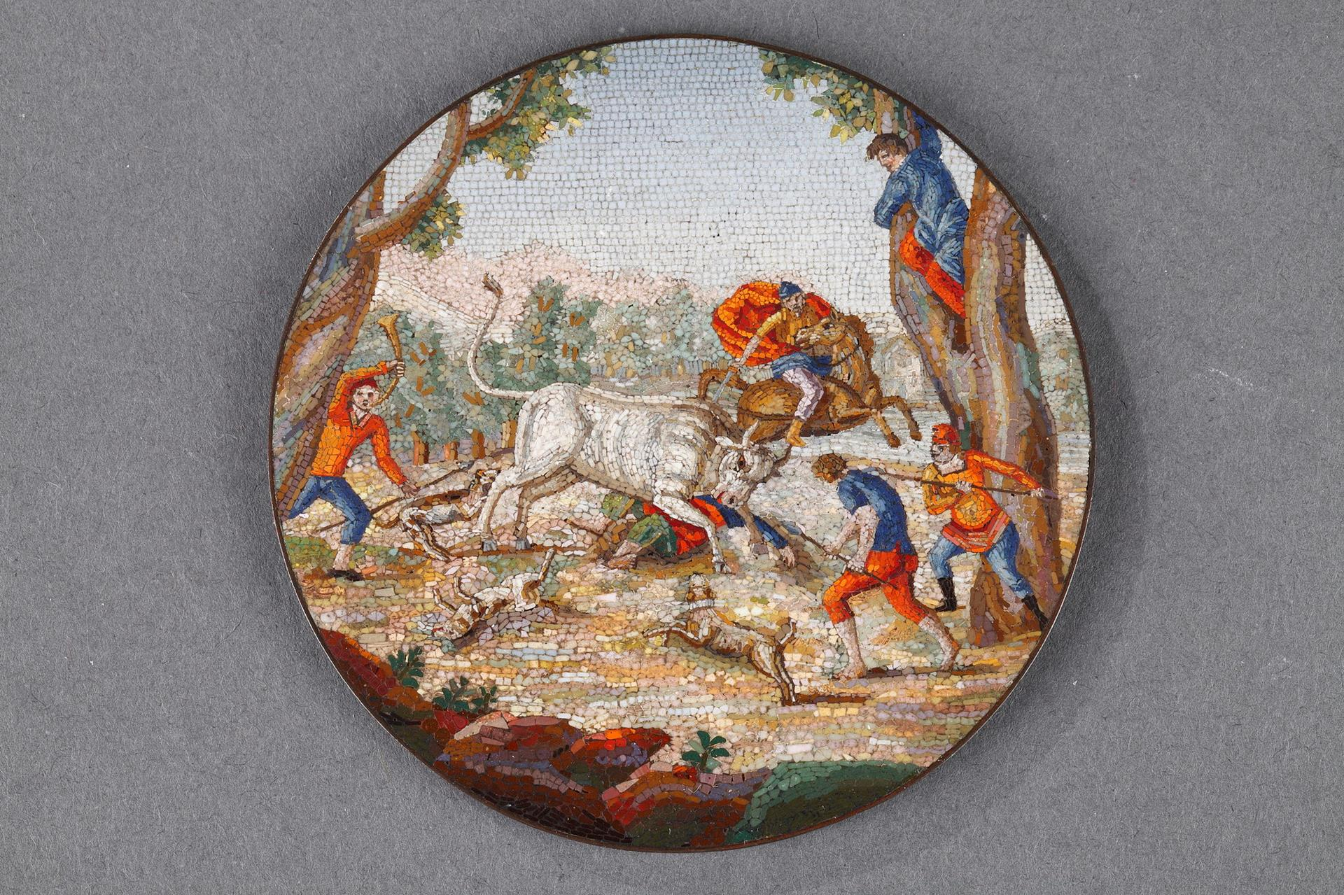 """Early 19th century Micromosaic plaque. """"Furious bull"""". Attributed to Luchini."""