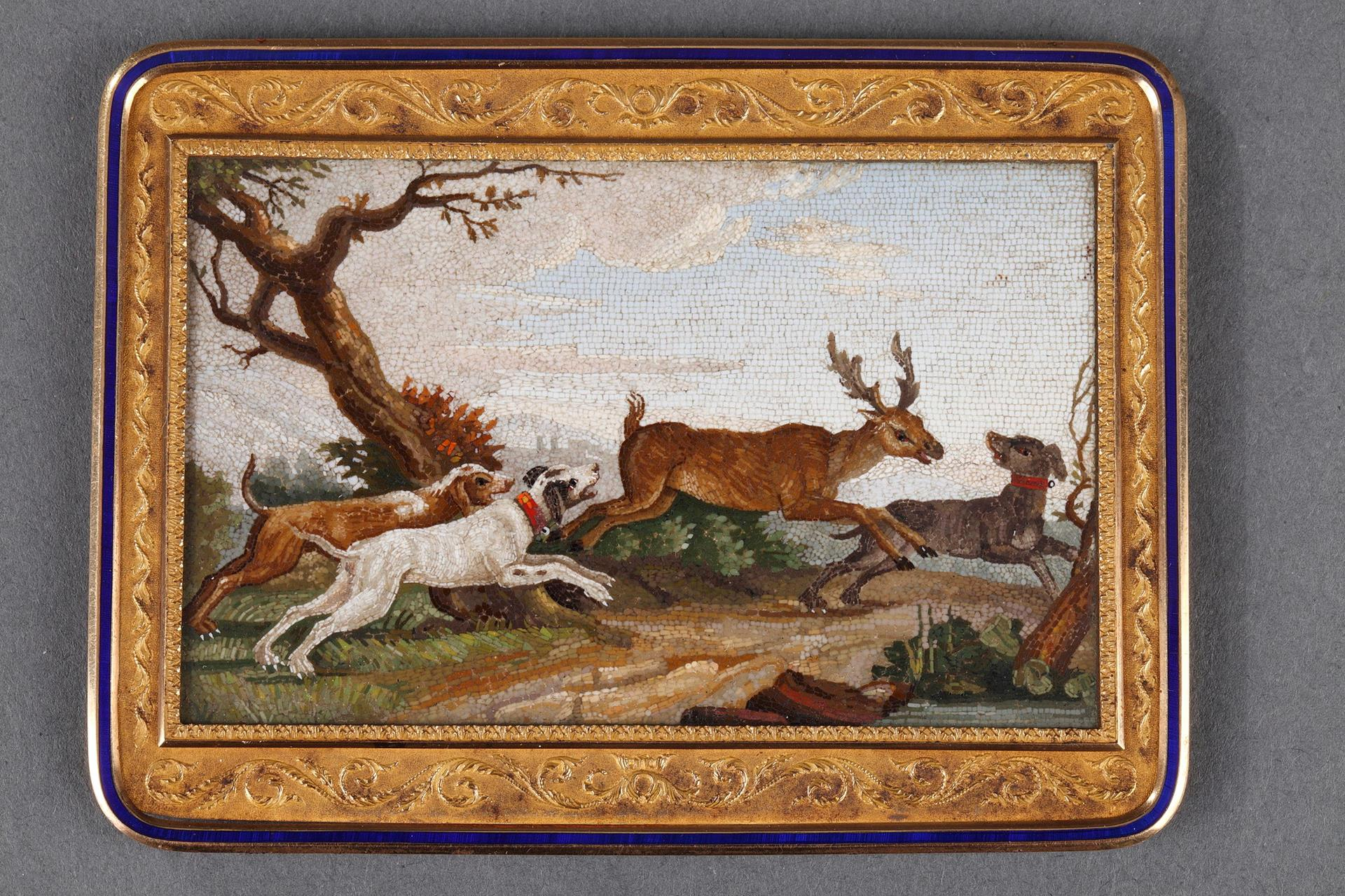 """""""The stag hunt"""". Early 19th century Micromosaic panel. Attributed to A.Aguatti."""