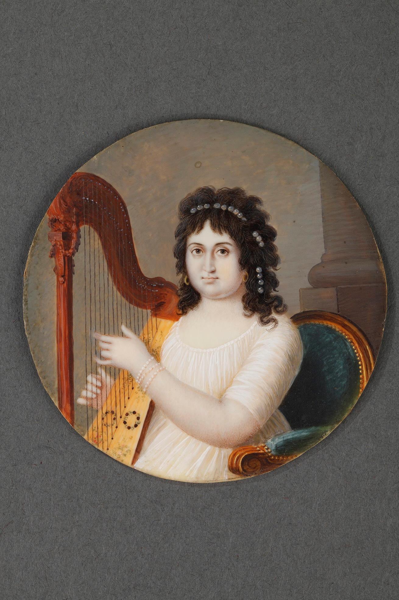 "Miniature on ivory ""the harpist"". <br> Circa 1800."