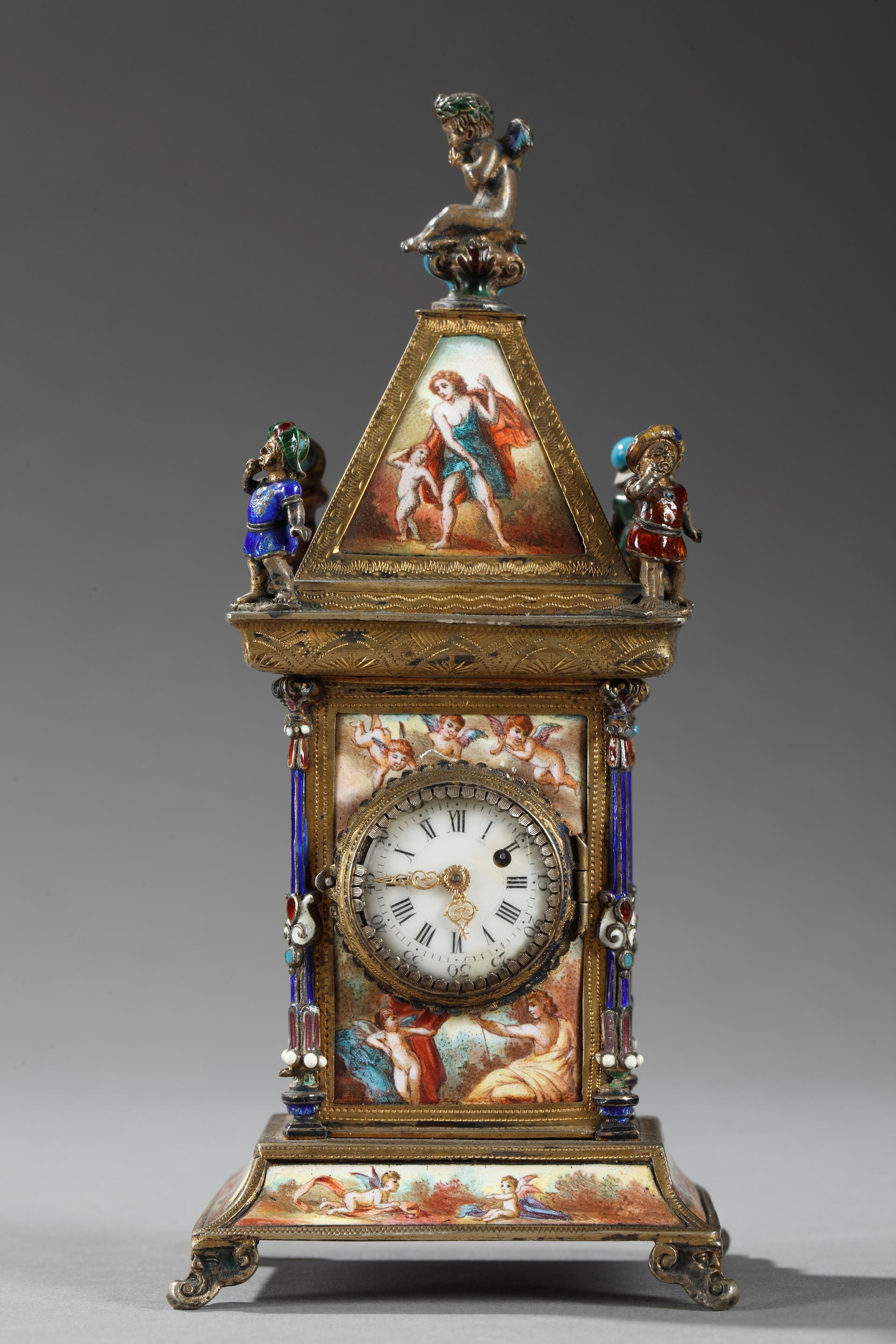 AUSTRIAN ENAMEL AND SILVER CLOCK.<br/>