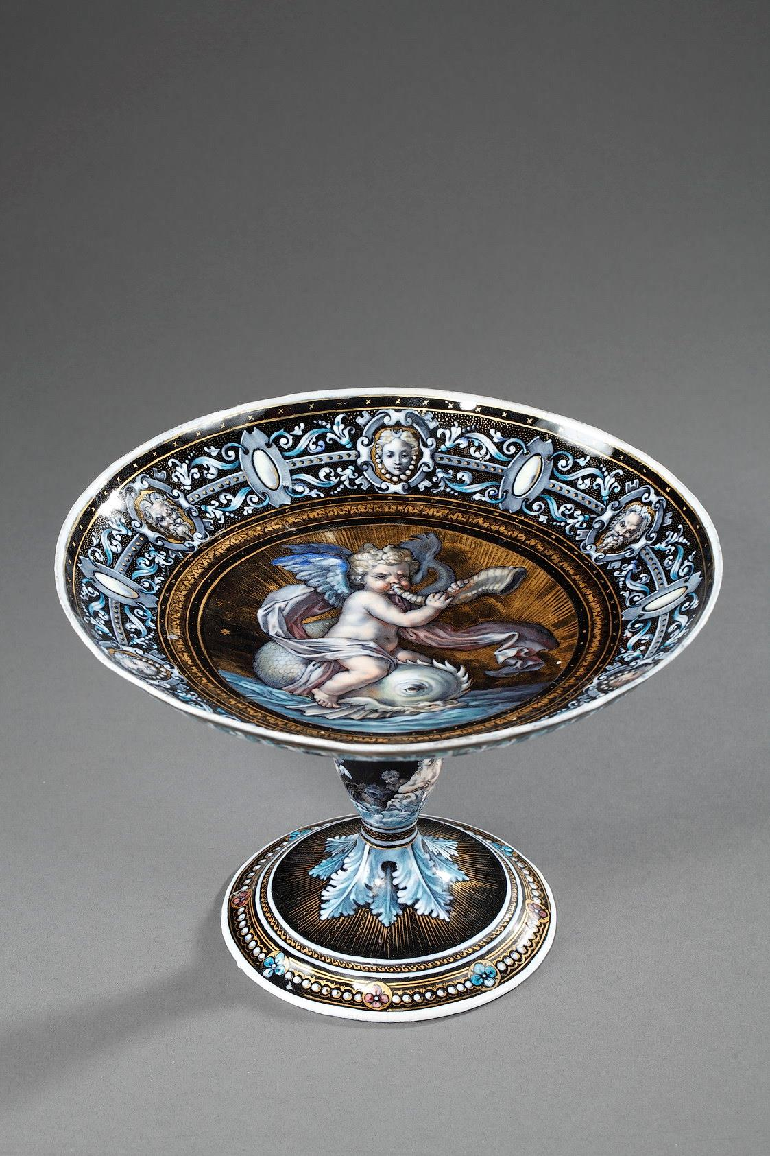 ENAMEL CUP SIGNED SUZANNE ESTELLE APOIL. SEVRES.<br/> MID 19TH CENTURY.