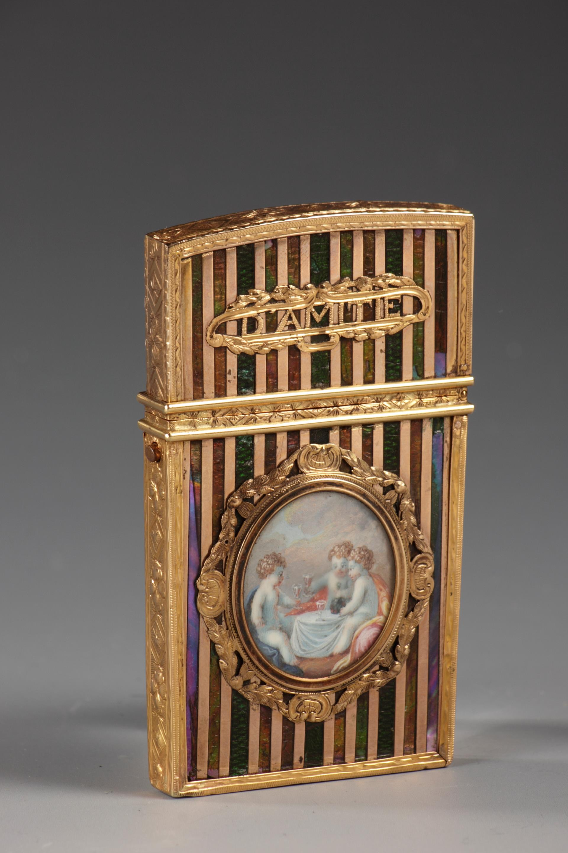 GOLD PANEL AND VERNIS MARTIN WRITING CASE.<br/> FRENCH CRAFTSMANSHIP, LOUIS XV PERIOD.