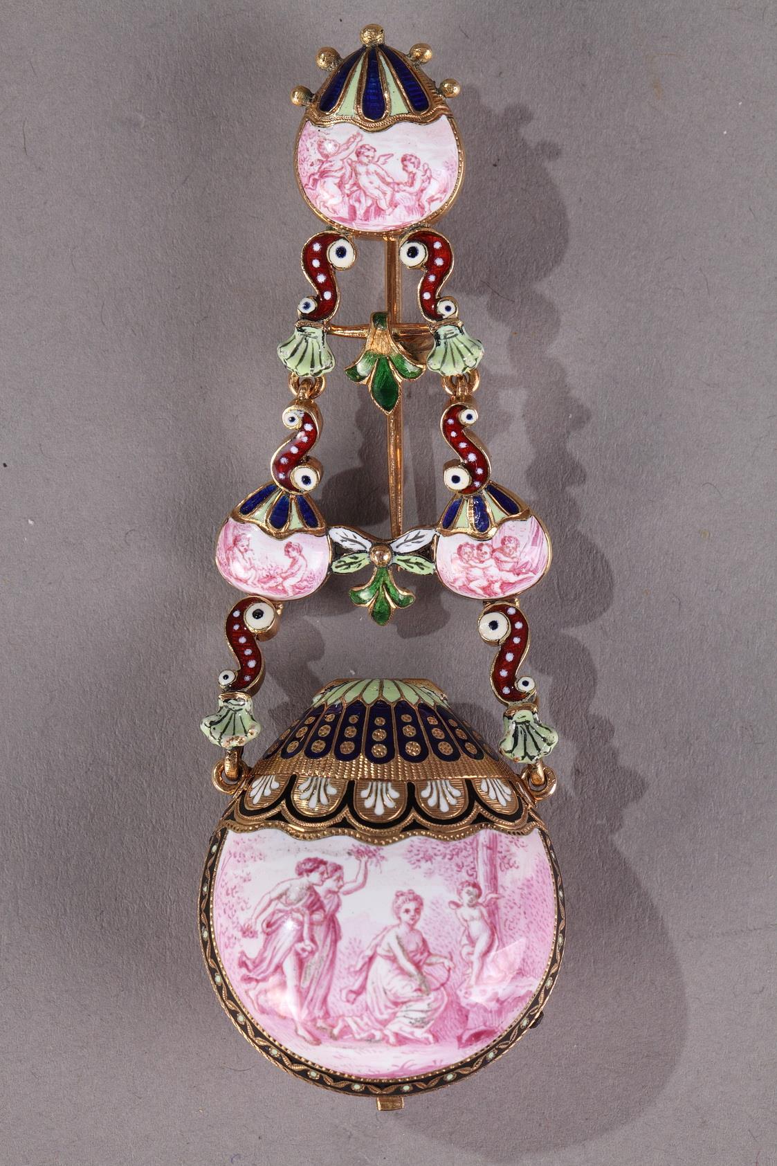Gold and Enamel watch. <br/>Viennese Craftsmanship Circa 1860-1870.