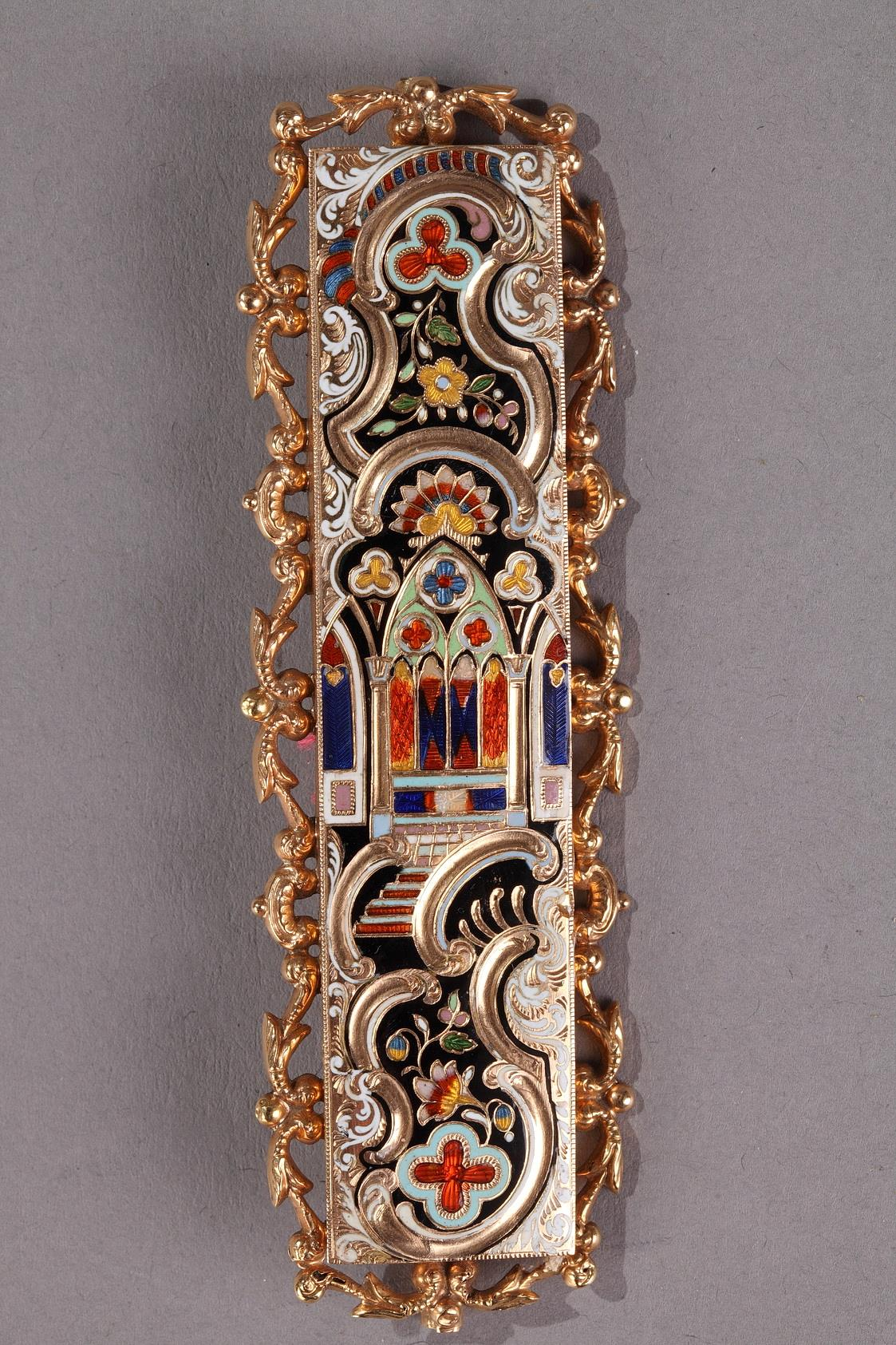 Gold and enamel belt buckle. Early 19th century.