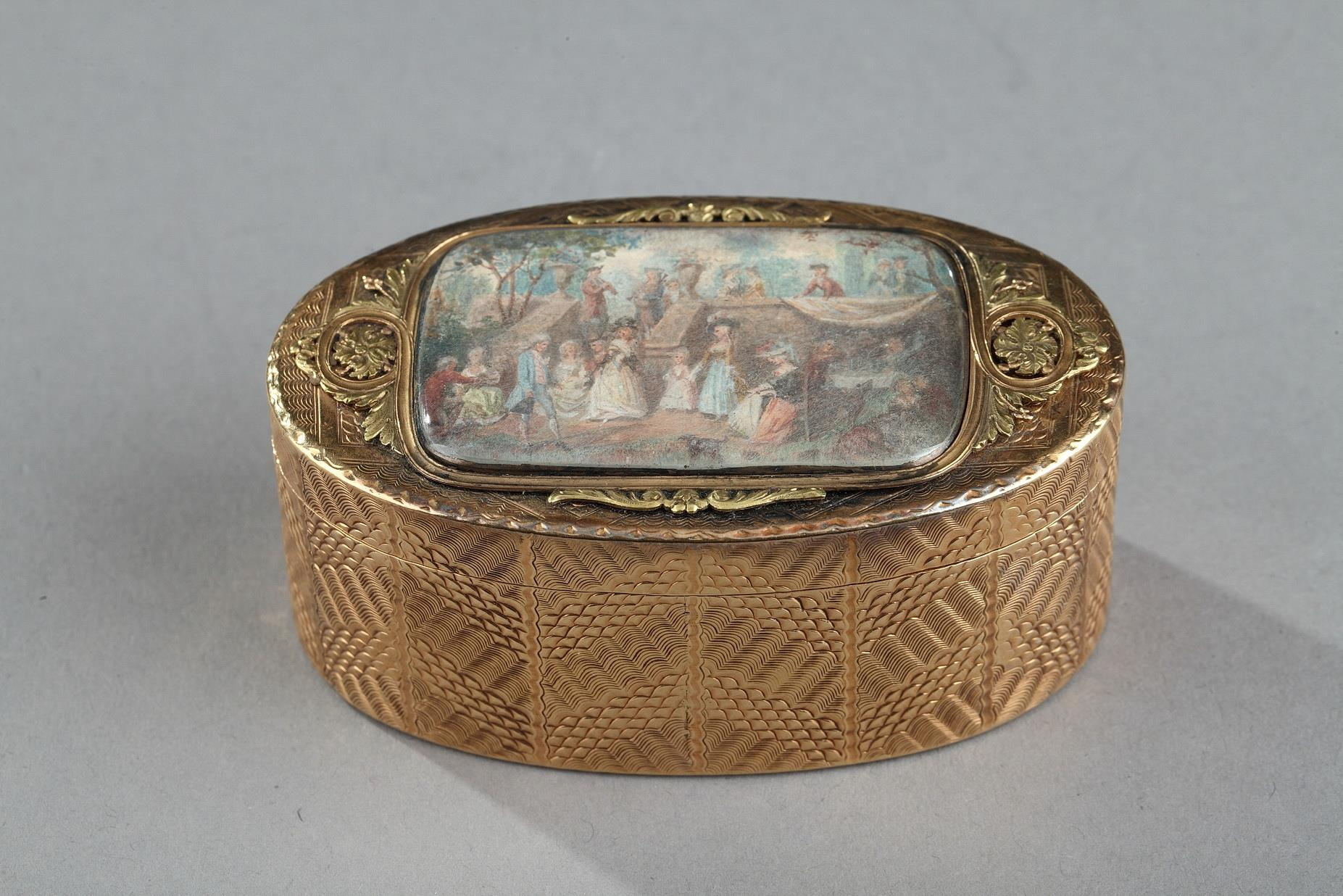 Gold box with a miniature 18th Century