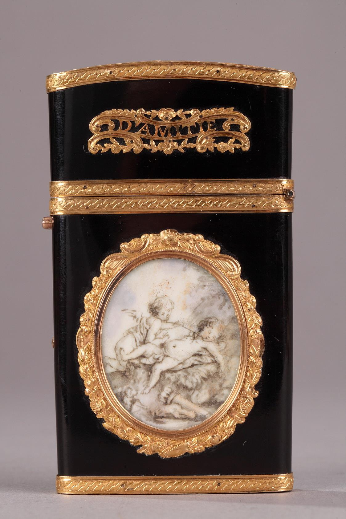 Gold panel and vernis Martin writing case.<br/> Louis XVI period.
