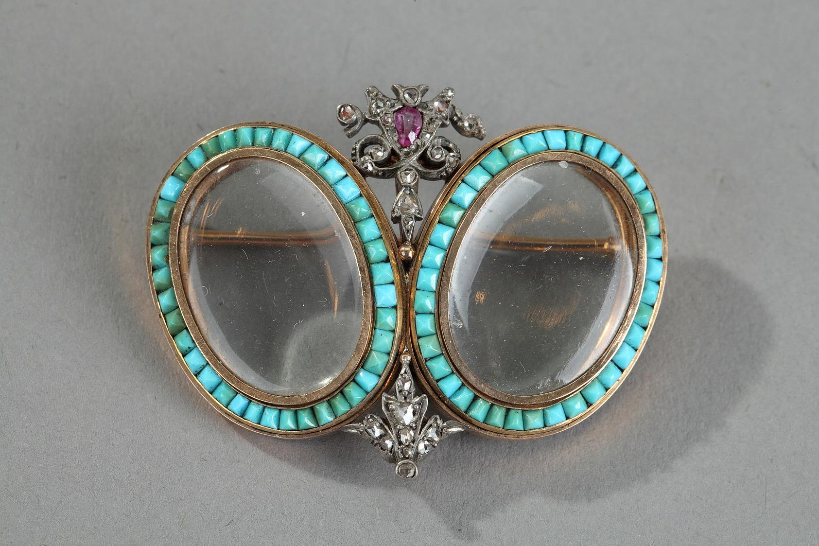 Gold, turquoise, diamonds and rubies brooche. 19 Century.
