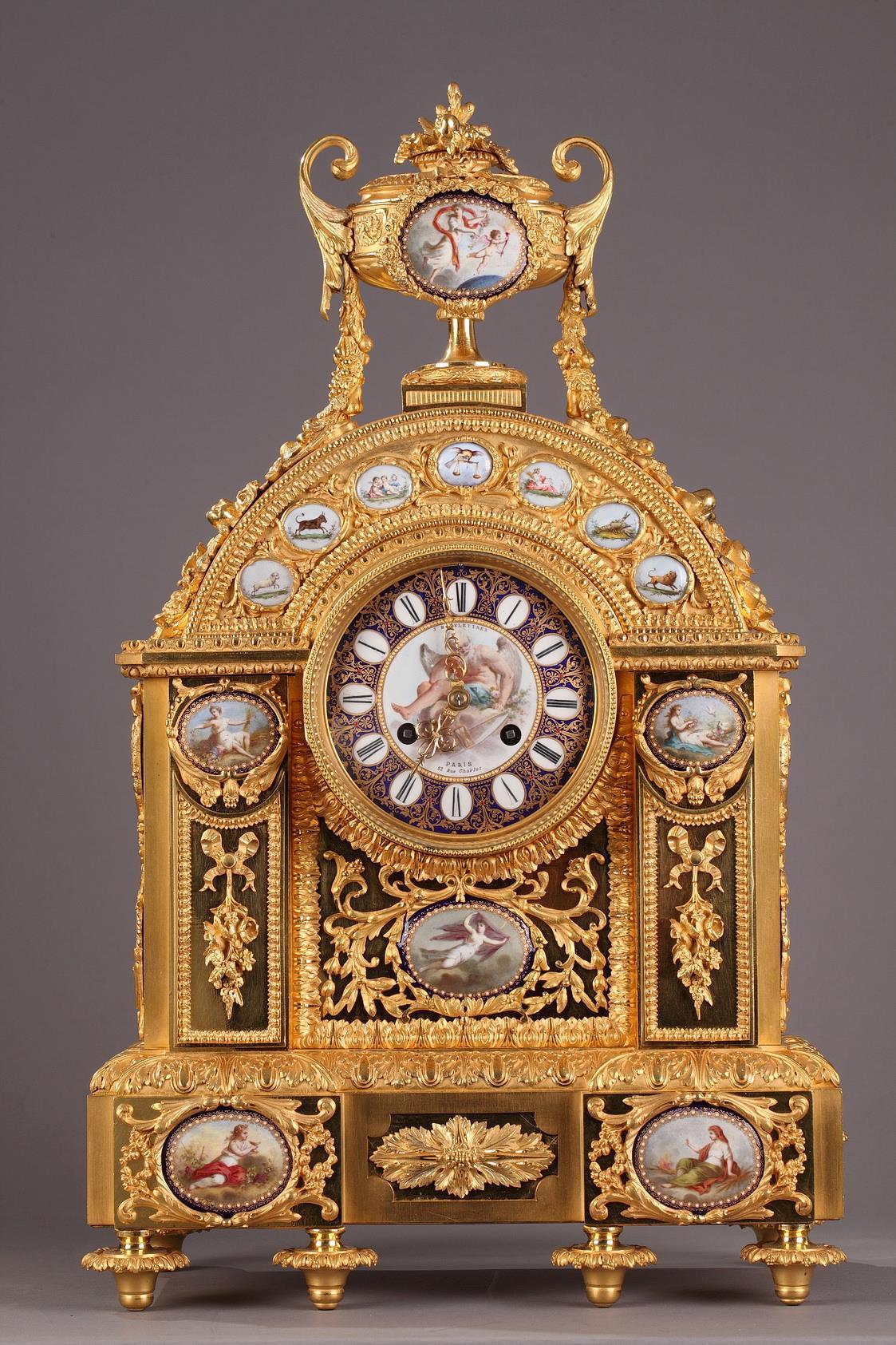 Mantel clock by j-b delettrez. <br/> mid 19th century.