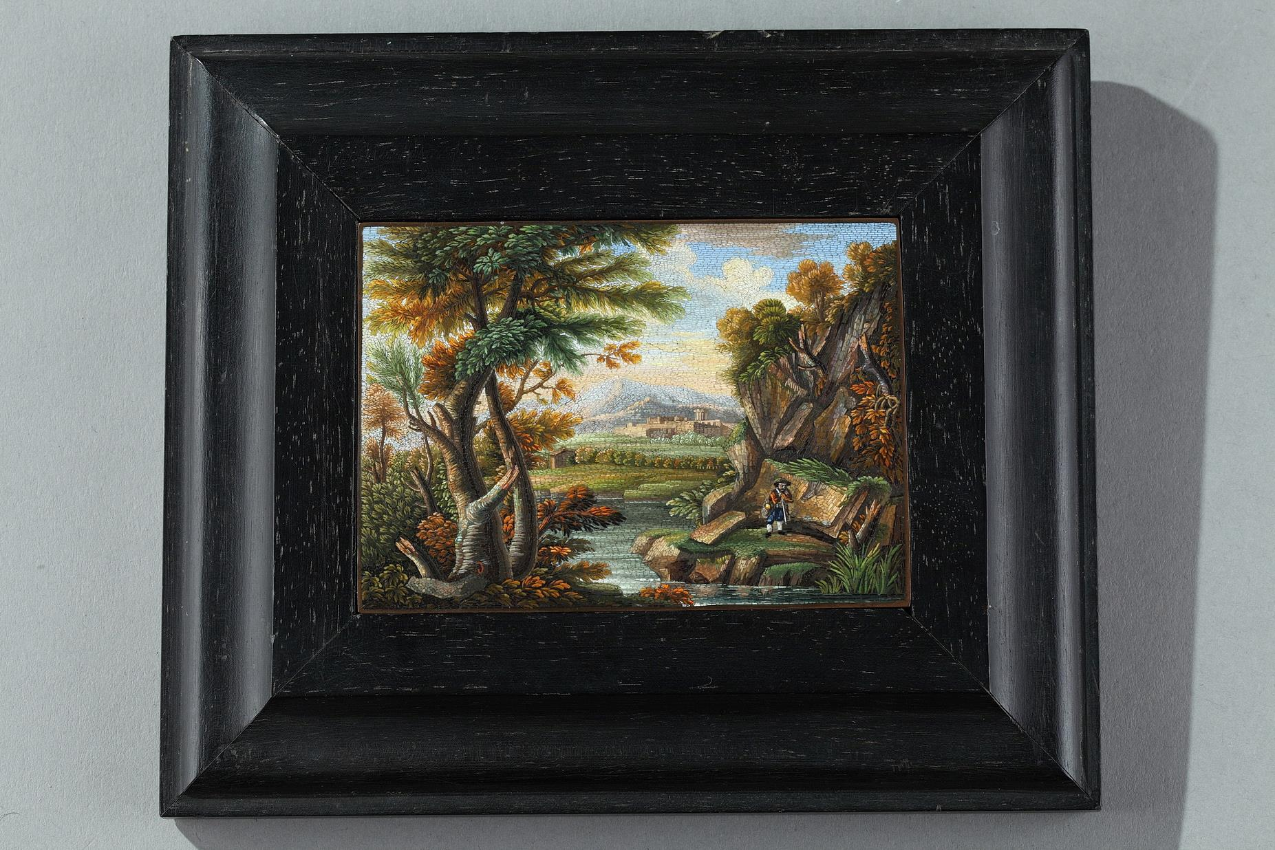 Micromosaic plaque with river landscape.